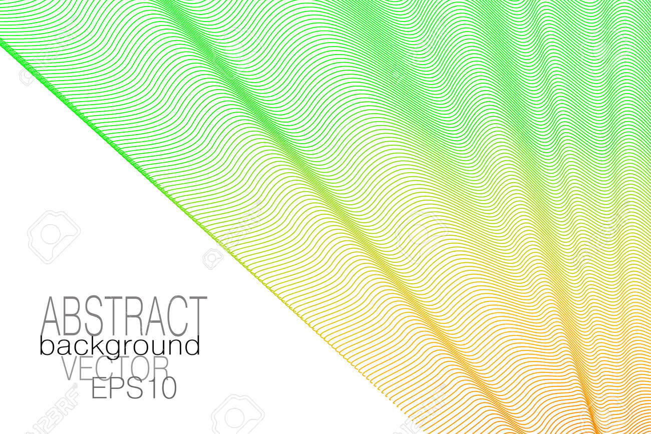 Light green, orange draped textile. Pleated net, curtain, white background. Line art design. Thin wavy curves. Vector abstract wave pattern. Template for business card, catalog, corporate identity, landing page. EPS10 illustration - 163418955