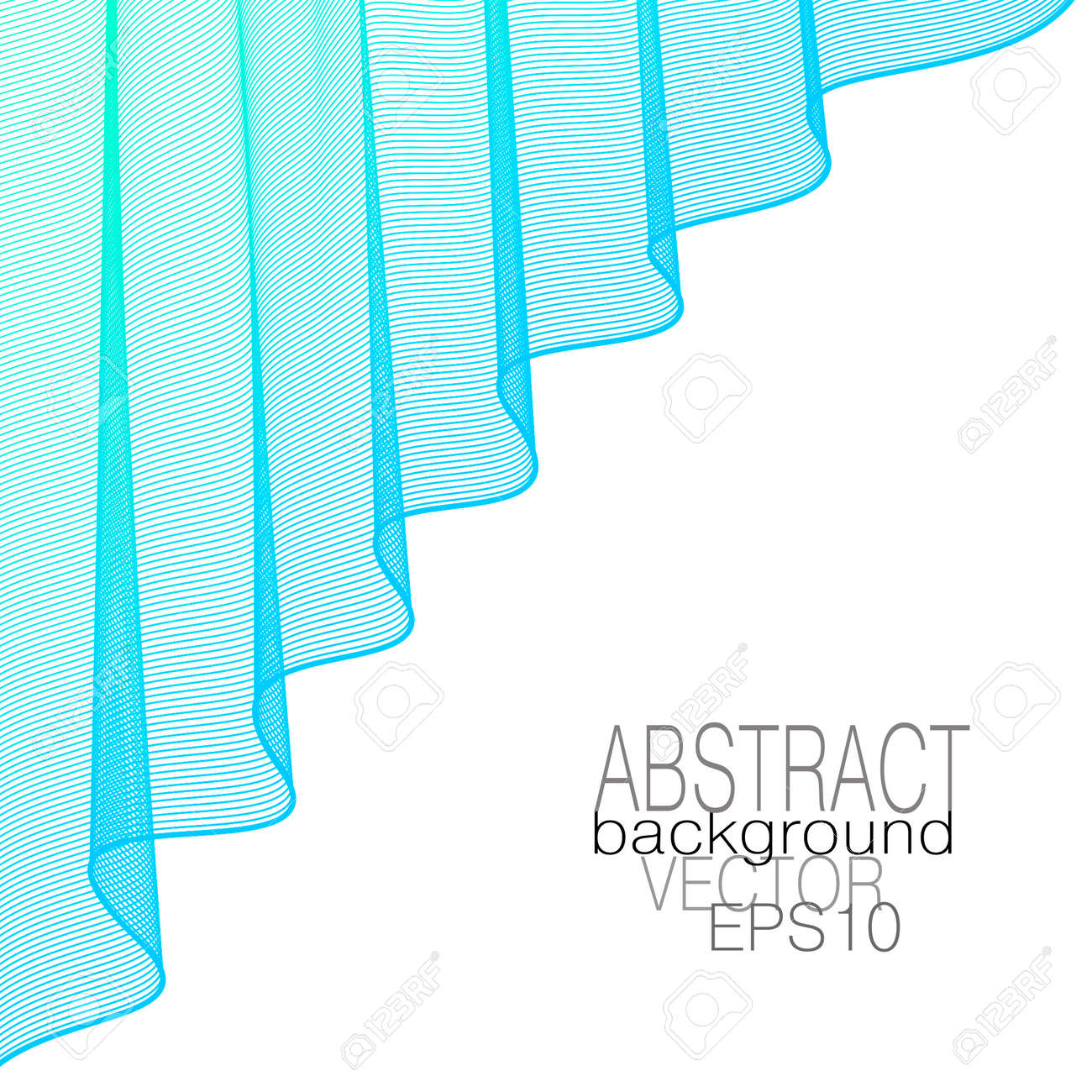 Light blue draped curtain, elegant folds. Theater stage concept. Lightweight veil. Wavy curves. Vector abstract wave pattern. Line art design, white background. Template for catalog, book cover, poster. EPS10 illustration - 163418953