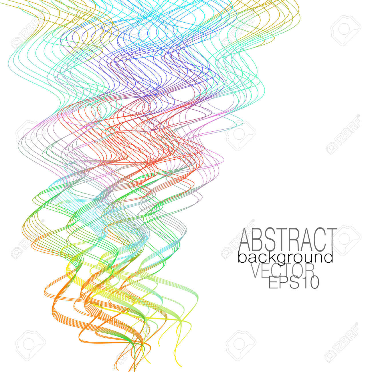 Holiday multicolored serpentine, paper streamers imitation. Thin squiggle curves, white background. Line art zigzag pattern. Vector abstract design. Fantasy wavy, chaotic strokes. Template for creative concepts, gift card. EPS10 illustration - 163731302