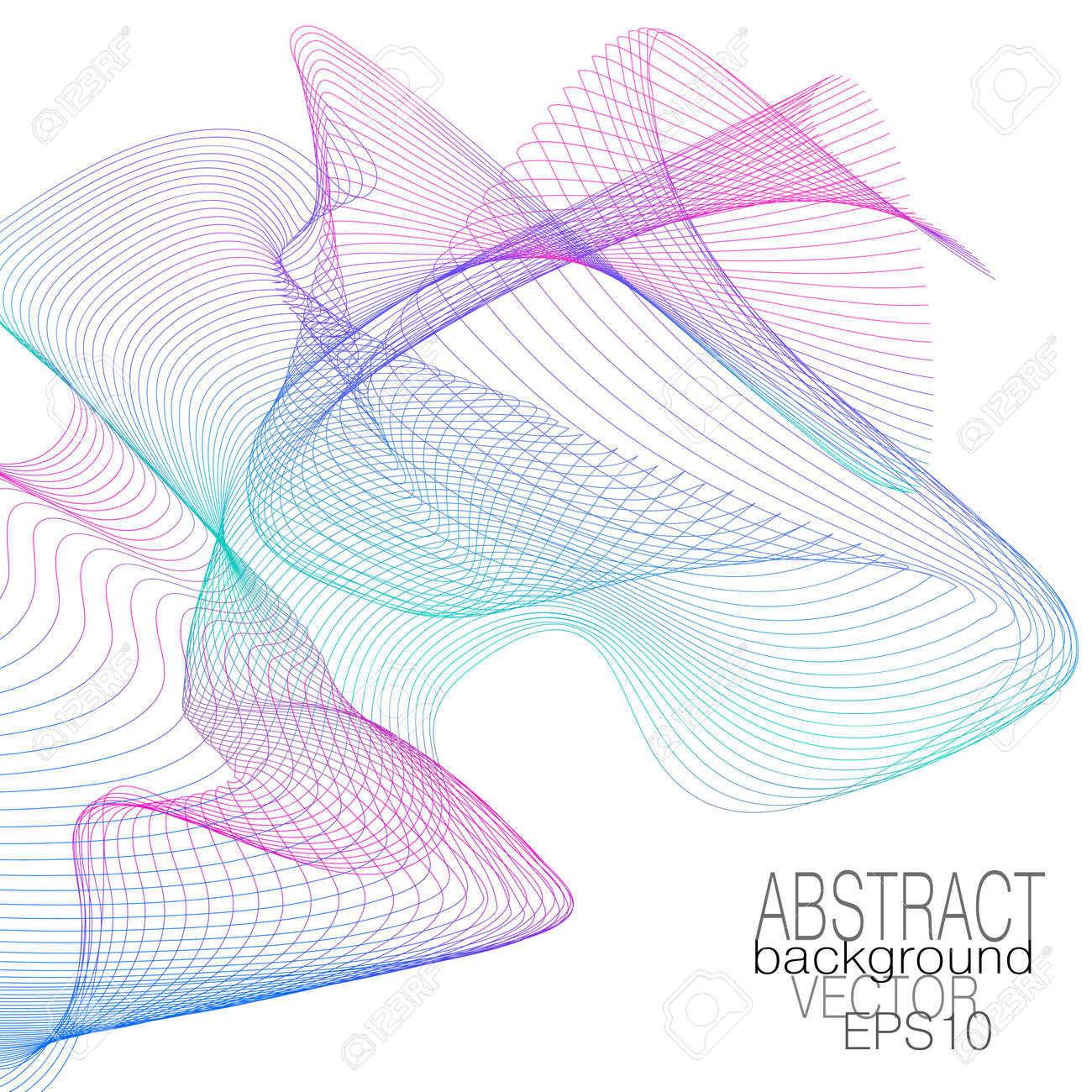 Magenta, teal, blue flying net. Dynamic veil pattern, color gradient. Thin squiggle curves. Wavy lines. Vector modern abstract line art design. Creative template for certificate, invitation, book cover, wallpaper. White background. EPS10 illustration - 163731323