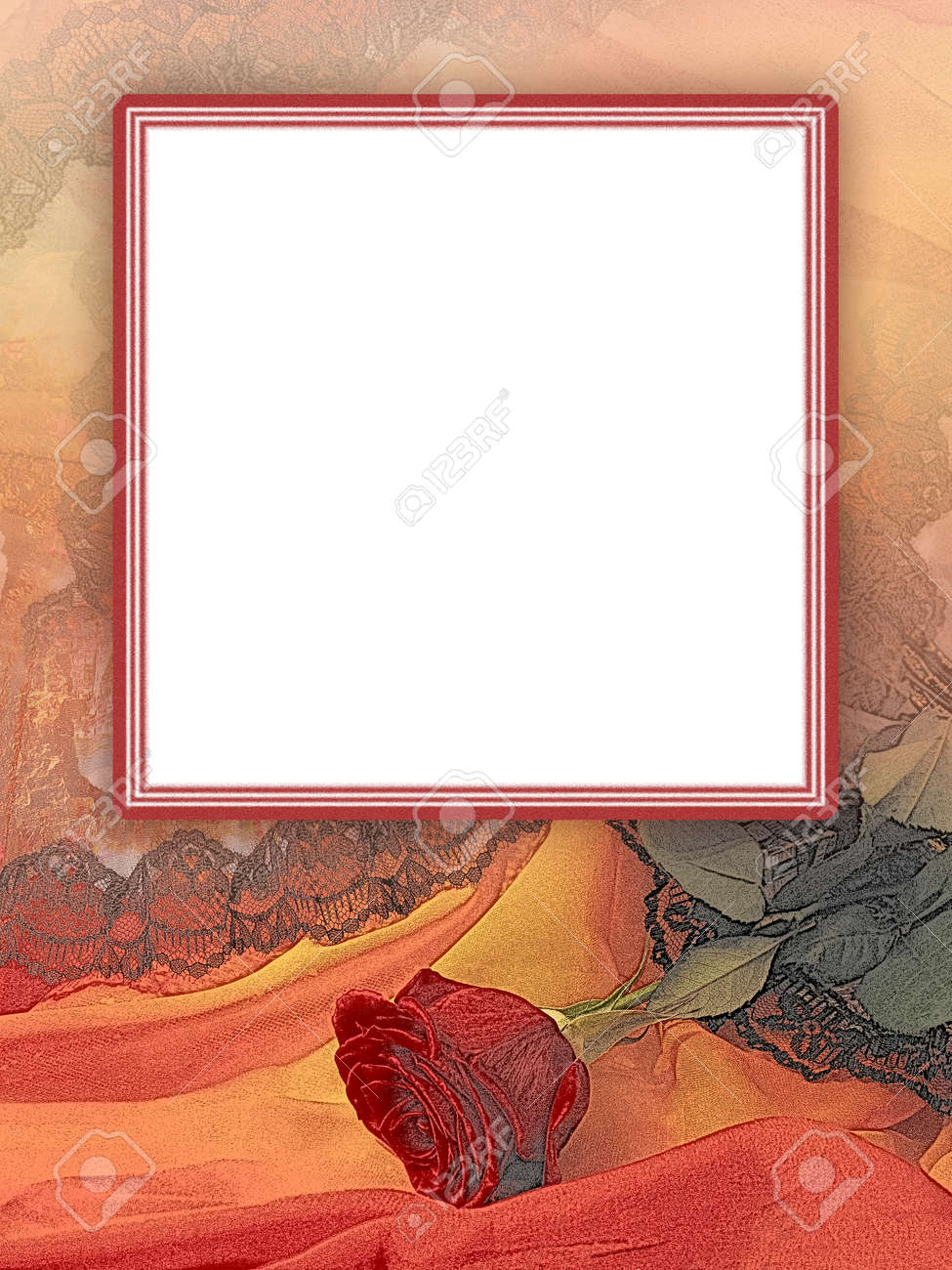 Vintage template with red rose. White square text box with elegant frame. Romantic mock up concept for greeting card, postcard, website, banner, presentation, poster, photo album, book page - 164138564