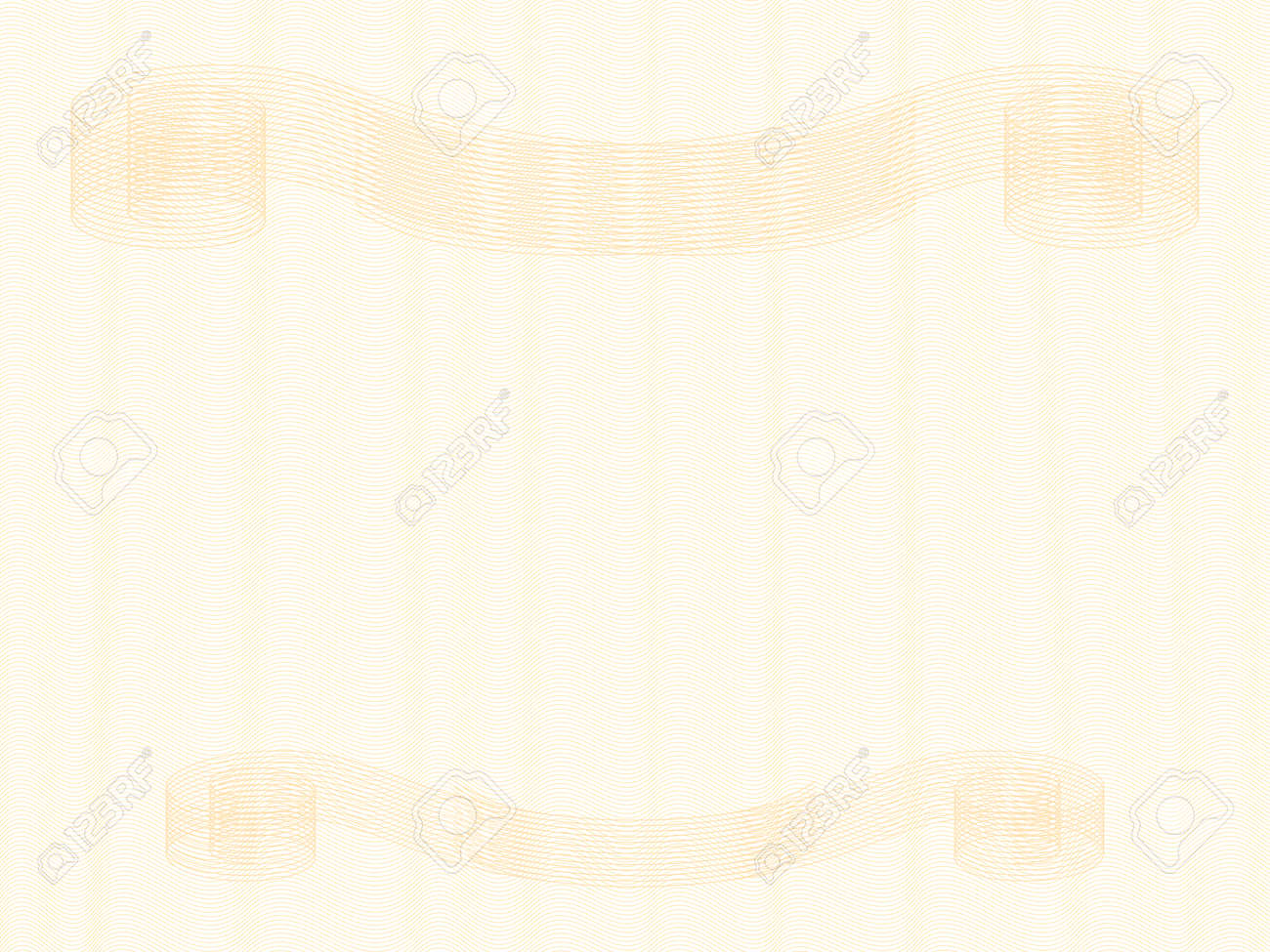 Diploma, certificate template with gold vintage vignettes. Zigzag pattern. Elegant ornament, curled lines. Pastel guilloche, watermark design. Vector abstract background. Landscape orientation. EPS10 illustration - 164614605
