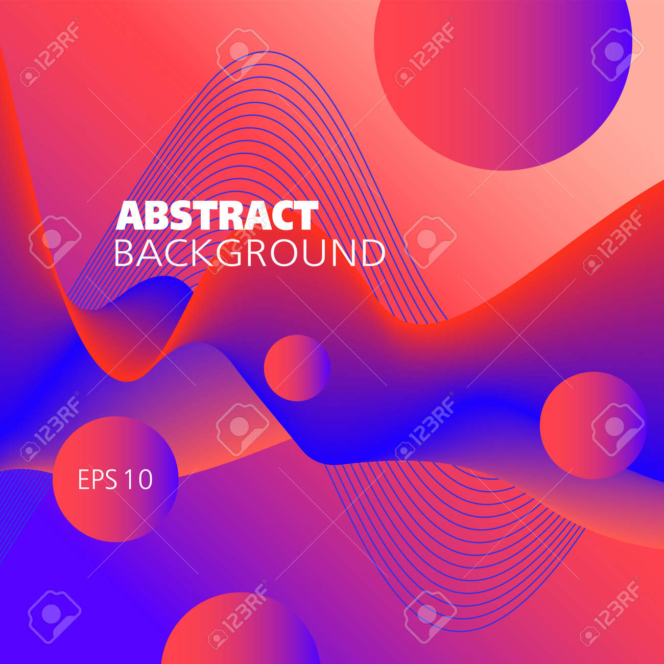 Liquid pattern, vector background. Bright red, blue fluid. Abstract wave and flying spheres. 3d shape, motion illusion. Futuristic design for decor, smart concepts, website templates, promotion materials. EPS10 illustration - 165092361