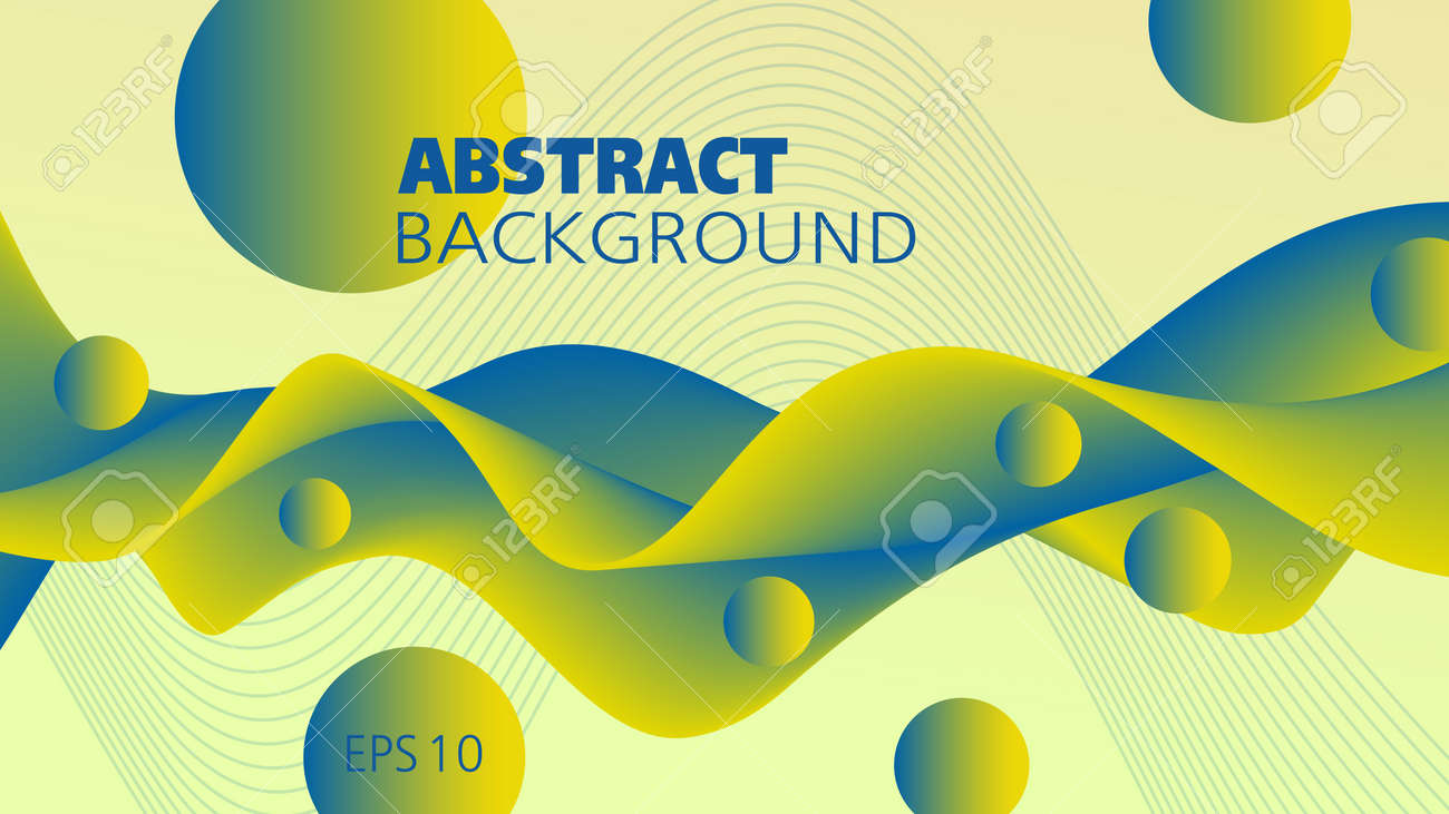 Green-yellow, blue snaking fluid. Abstract wave and flying spheres, liquid pattern. 3d shape, motion illusion. Futuristic design. Vector background. Template for landing page, flyer, poster, leaflet, promotion materials, decor. EPS10 illustration - 165094353