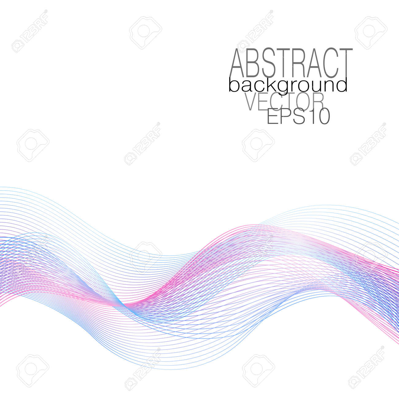 Blue, pink flowing waves. Multicolored curved lines. Dynamic waveform of soft gradient. Airy line art design. Flying glowing veil, undulating lines. Vector abstract pattern. White background. illustration - 165574477
