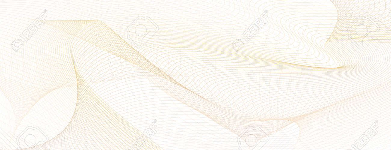 Pastel beige net pattern, guilloche. Light colored watermark. Flowing subtle lines, squiggle curves. Vector modern background. Abstract design for check, voucher, gift card, certificate, landing page, banner, flyer. illustration - 165915192