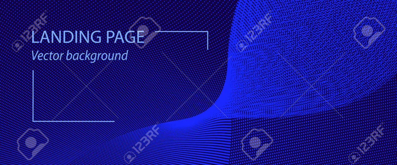 Abstract landing page template with blue waveform. Pattern of points, particles. Dark blue background. Spotted curves. Vector cyberspace concept. Techno design for banner, presentation, voucher, coupon, flyer. EPS10 illustration - 166878645