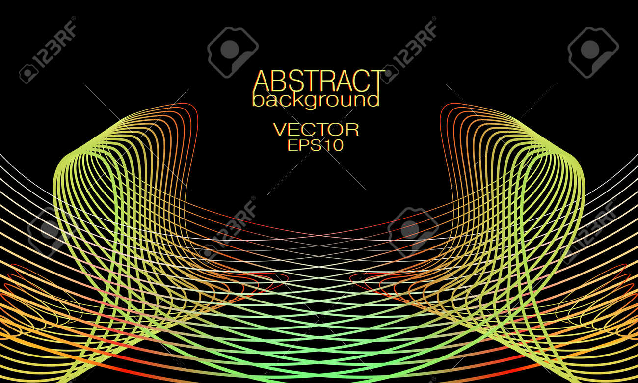 Symmetric wave pattern of yellow, red, green lines. Black background. Abstract waveform. Vector thin curves. Bright colored gradient. Tech design element for landing page, banner, poster, leaflet, flyer, website. EPS10 illustration - 167097434