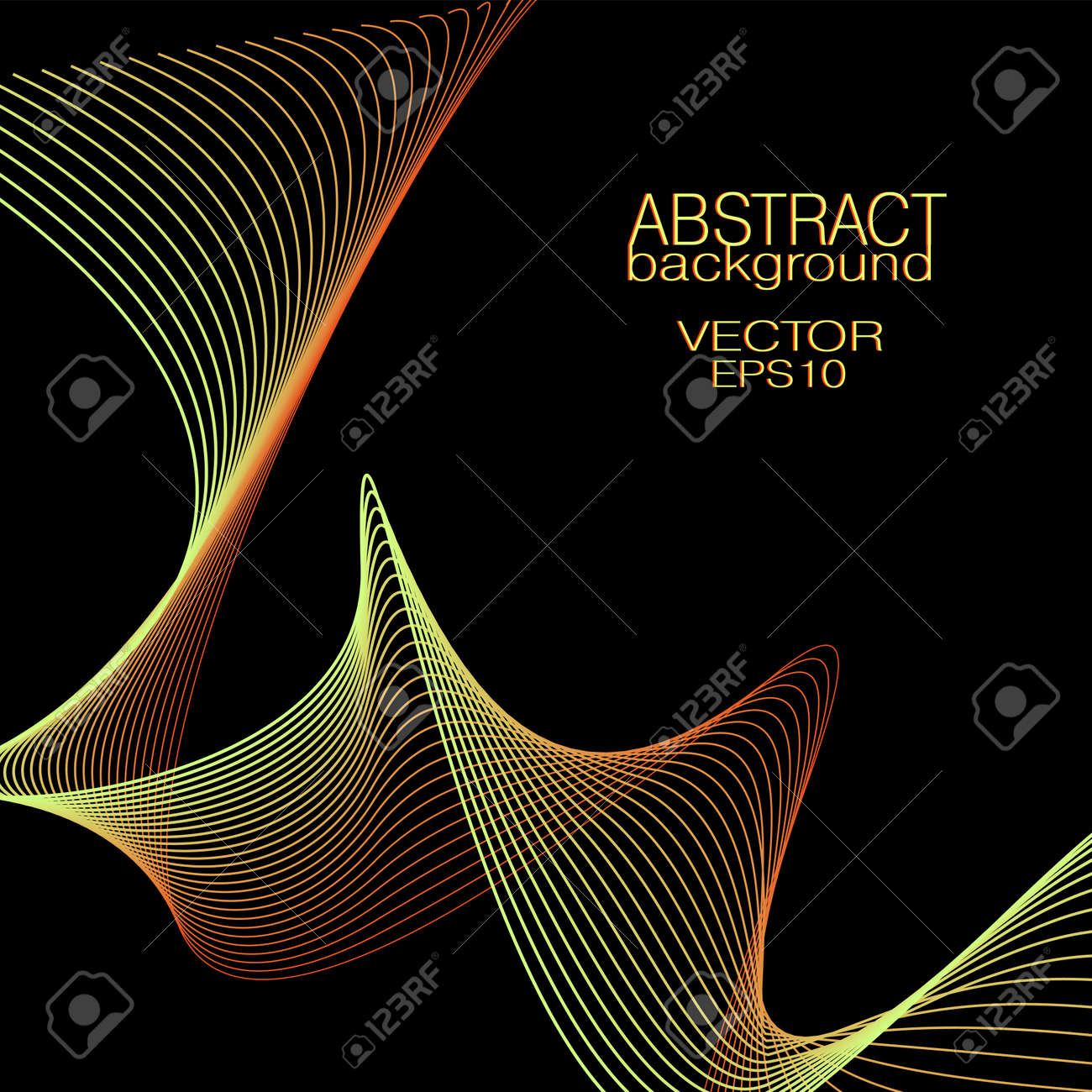 Shiny yellow, red squiggly curves. Vector wavy lines. Abstract wave pattern. Black background. Bright colored gradient. Technology design element for landing page, banner, poster, leaflet, flyer, website. EPS10 illustration - 167097435