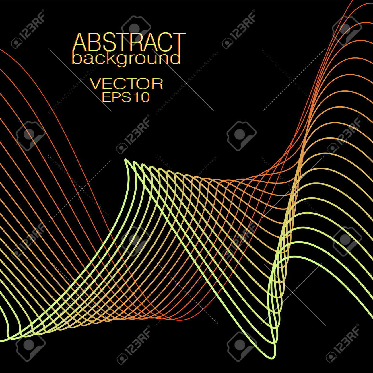 Yellow, red wavy lines. Abstract wave pattern. Vector squiggly curves. Black background. Bright colored gradient. Technology design element for landing page, banner, poster, leaflet, flyer, website. EPS10 illustration - 167097436