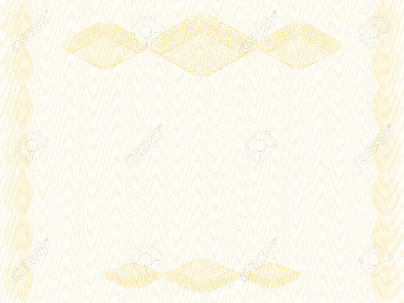 Elegant background decorated with rhombus border, copy space. Golden guilloche, watermark pattern, thin lines. Abstract design. Vector template A4 for certificate, diploma, passport, gift card, landscape orientation. EPS10 illustration - 168124035
