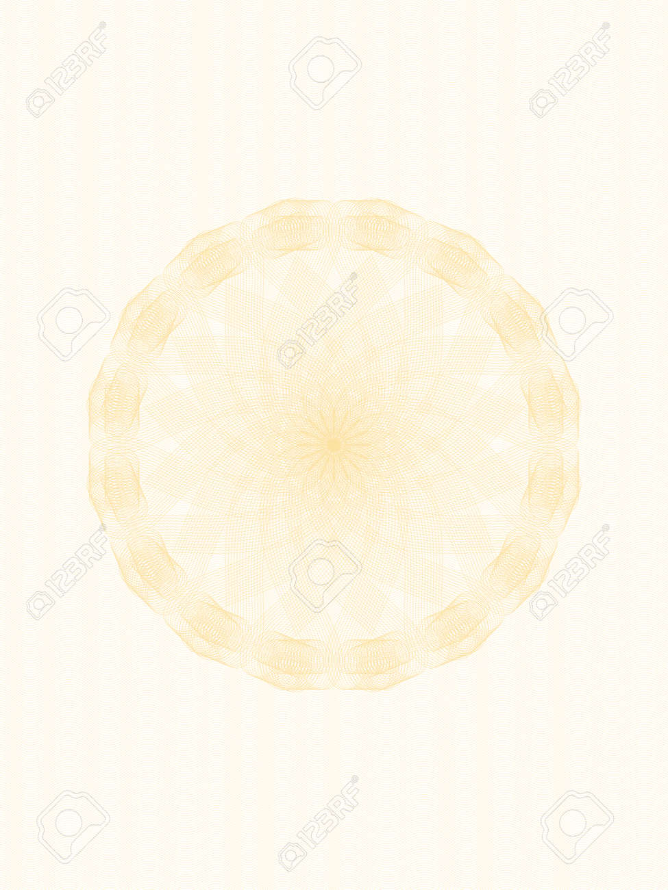 Light beige openwork guilloche for certificate, diploma, passport, gift card. Pastel round watermark design. Line art pattern. Vector abstract background, subtle curves. Elegant template A4. EPS10 illustration - 168124038