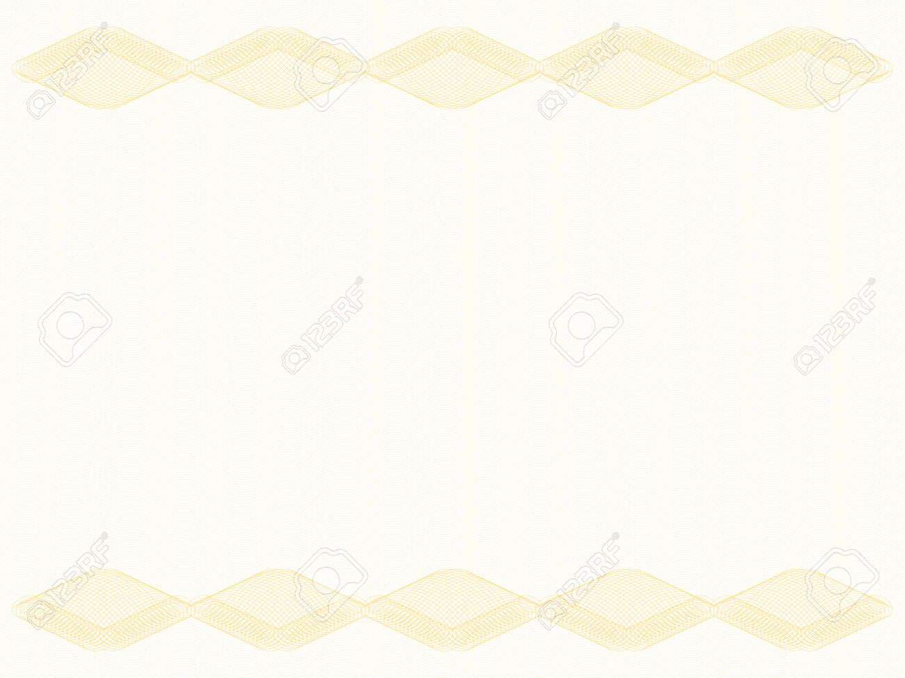 Certificate background with rhombus border, copy space. Golden guilloche, watermark pattern, subtle lines. Abstract design. Vector template A4 for diploma, passport, gift card, landscape orientation. EPS10 illustration - 168124039