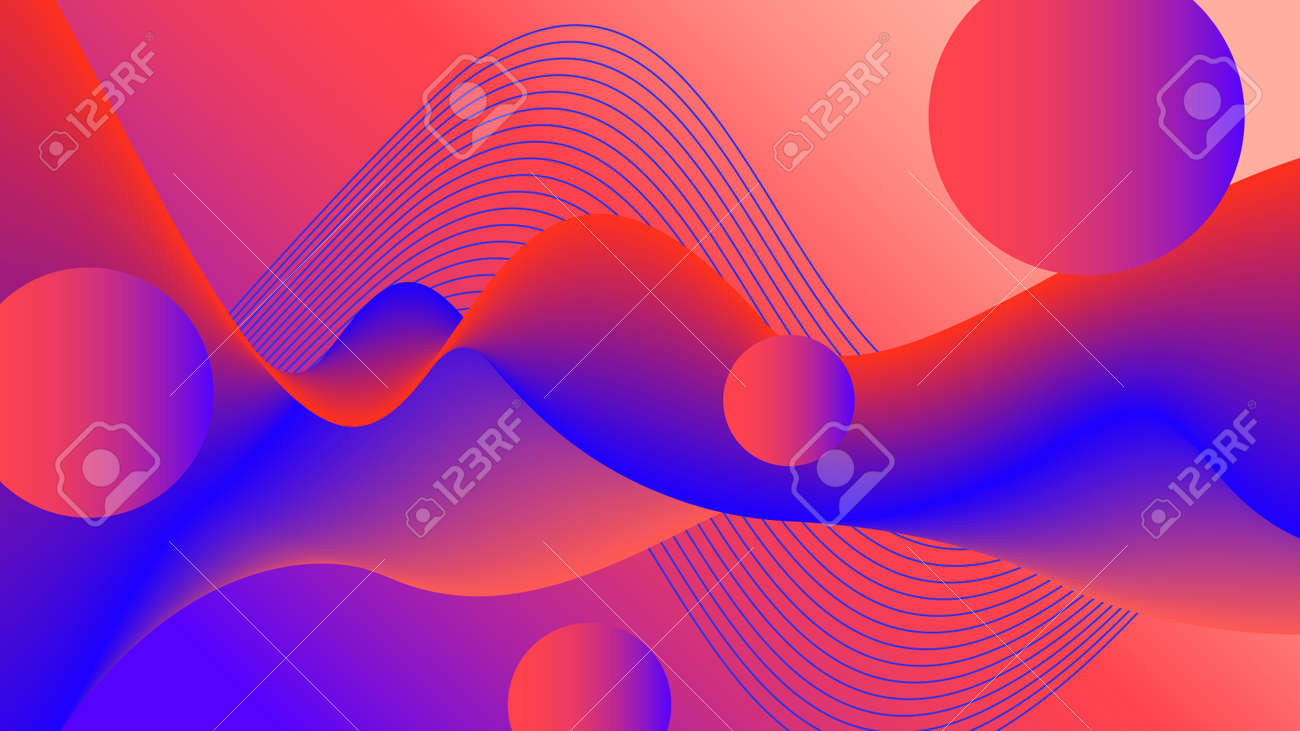 Futuristic red, blue fluid background. Flowing liquid. Abstract wave pattern and flying spheres. Multicolored 3d shapes. Psychedelic design for landing page, flyer, poster, promotion materials, surreal decoration - 168534673