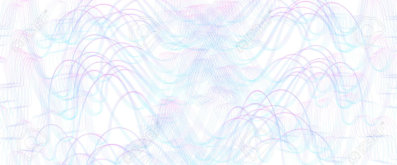 Blue, magenta squiggle subtle lines. Wavy tangled, ripple curves. Abstract vector background. Textured pattern. Template design for banner, landing page, check, gift card, certificate. Pencil drawing imitation. EPS10 illustration - 169540269