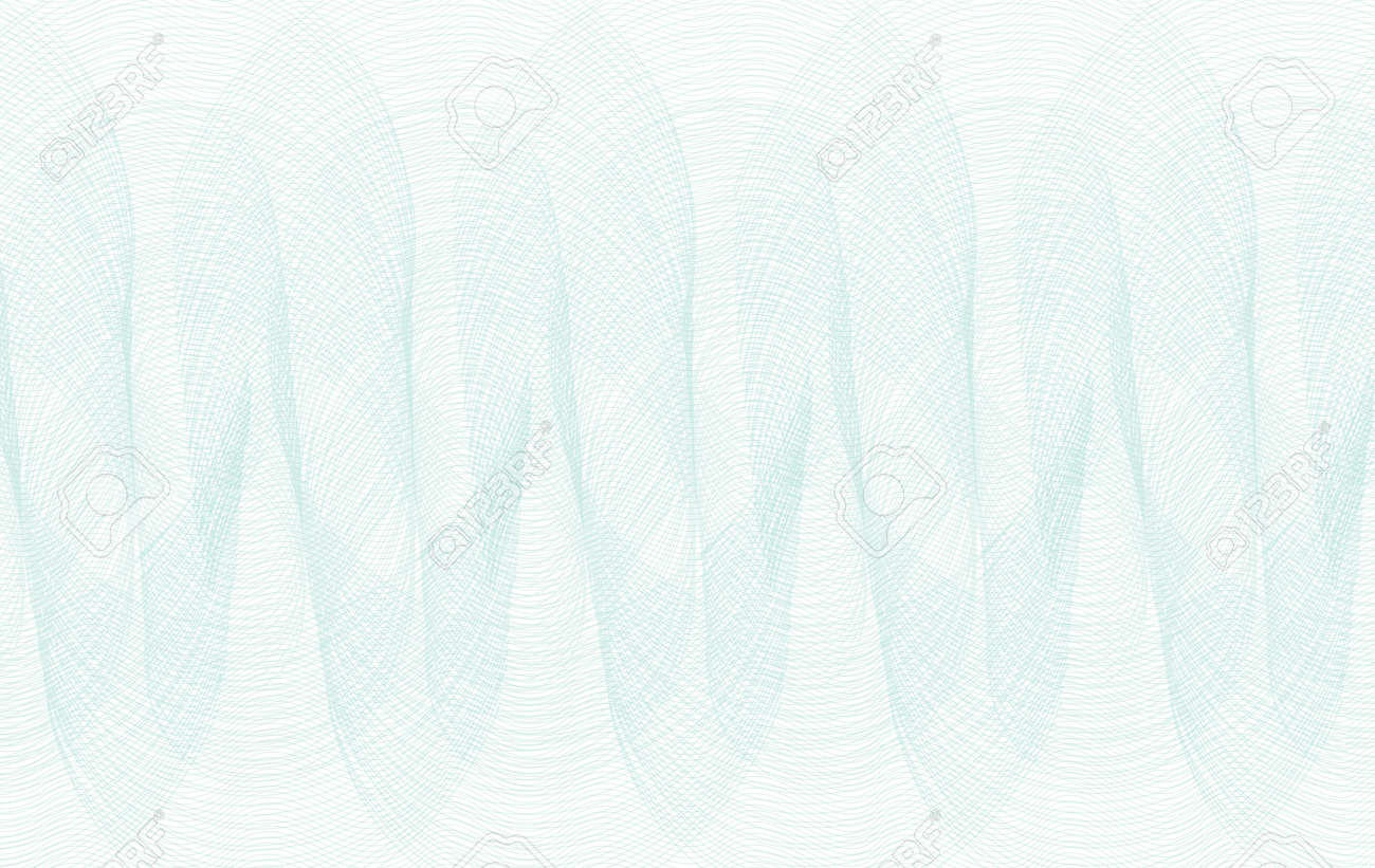 Light teal line art repeated pattern. Watermark design. White background. Vector abstract subtle curves. Guilloche for certificate, check, ticket, banknote, coupon, voucher. EPS10 illustration - 170340583