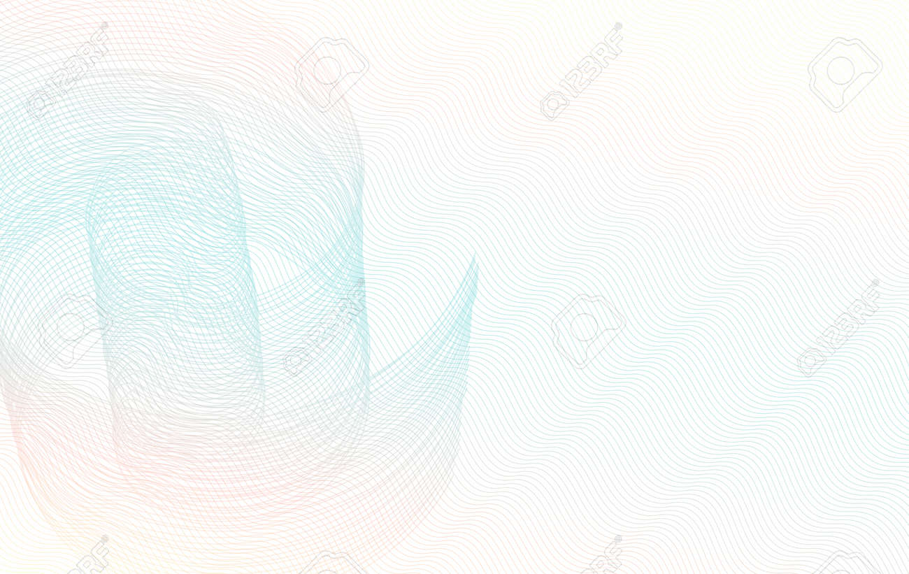 Light teal, red, yellow swirl pattern, zigzag subtle lines. Pastel colored watermark, guilloche. Curled thin curves. Vector background. Abstract design for check, voucher, gift card, certificate, banner, flyer. EPS10 illustration - 170340591