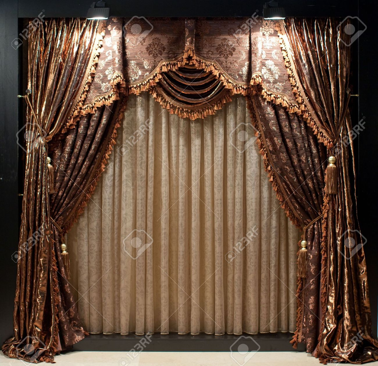 brown window curtains burgundy luxurious oldfashioned designer window curtains with flowers in brown and white stock photo oldfashioned designer window curtains with flowers