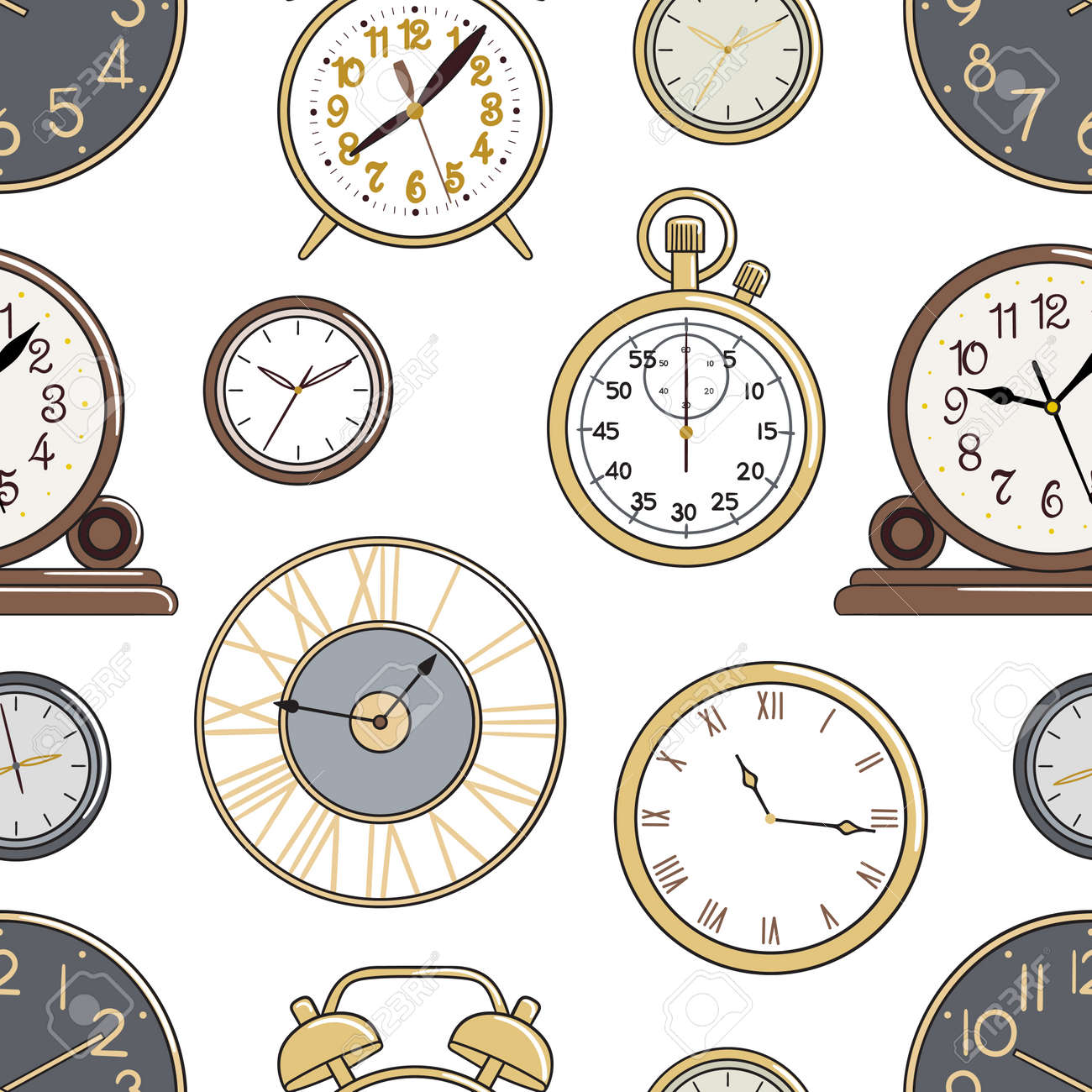 Seamless pattern of cartoon watches and alarm clock. Background for printing, fabric, textile, wallpaper and decor. Hand-drawn vector illustration. - 159918124