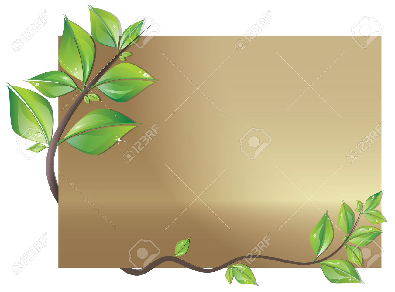 Beautiful card decorated with branch of fresh leaves Stock Vector - 12010647