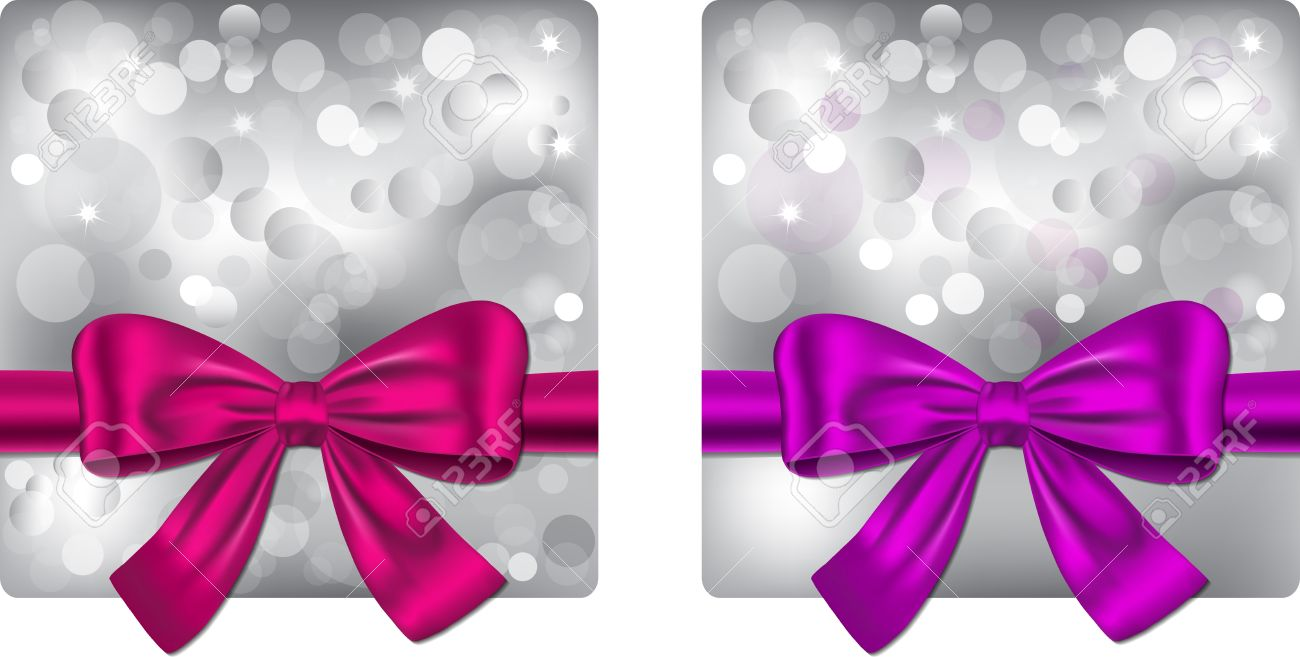 christmas backgrounds with violet and pink ribbon gift cards