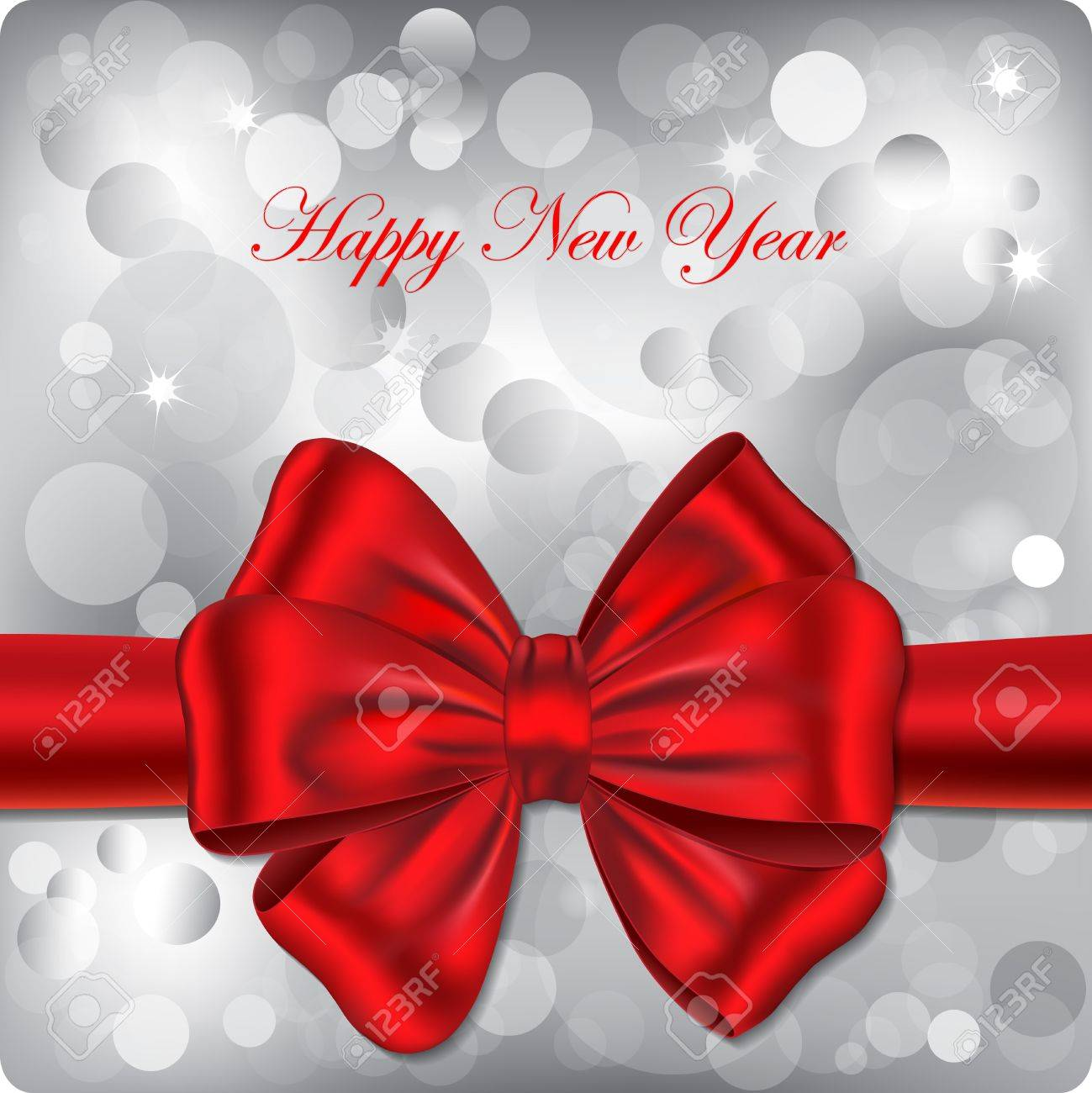 happy new year backgound with red ribbon gift card illustration stock vector 12367949