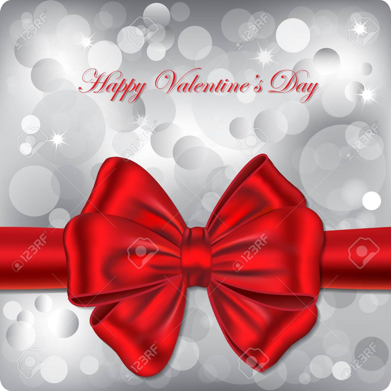 Happy Valentines Day Gift Card Bokeh Background With Red Ribbon – Valentines Day Gift Card