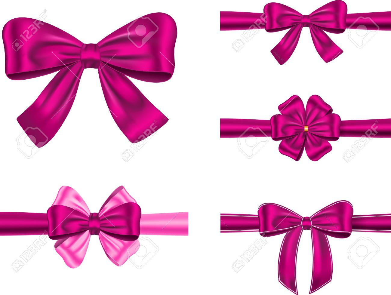 un conjunto de cintas de regalo con lazos violetas para tarjeta y foto de archivo