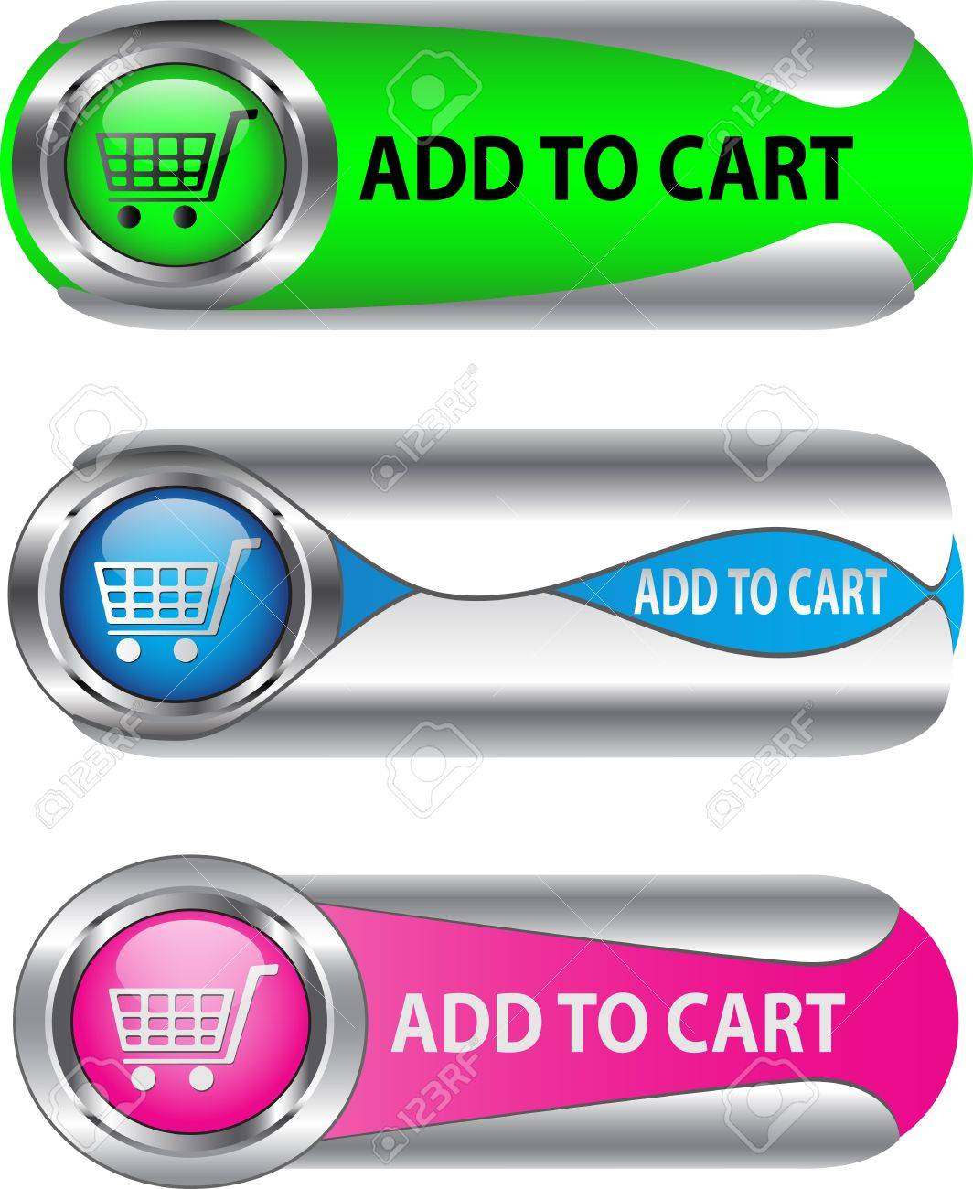 Metallic Add To Cart button/icon set for web applications. Stock Vector - 12367948