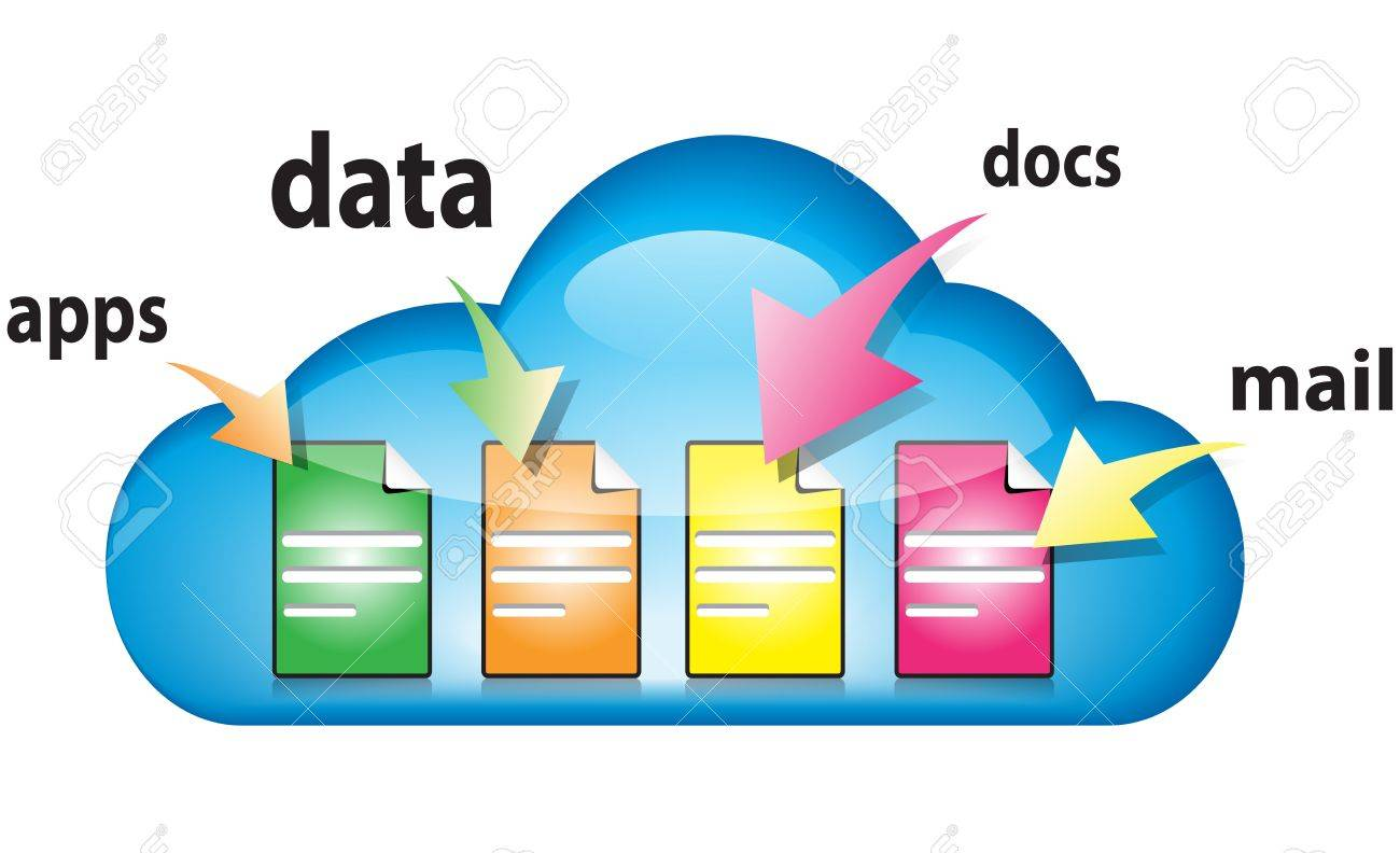 Cloud computing concept with docs, data, apps, mail in the cloud illustration Stock Vector - 12494169
