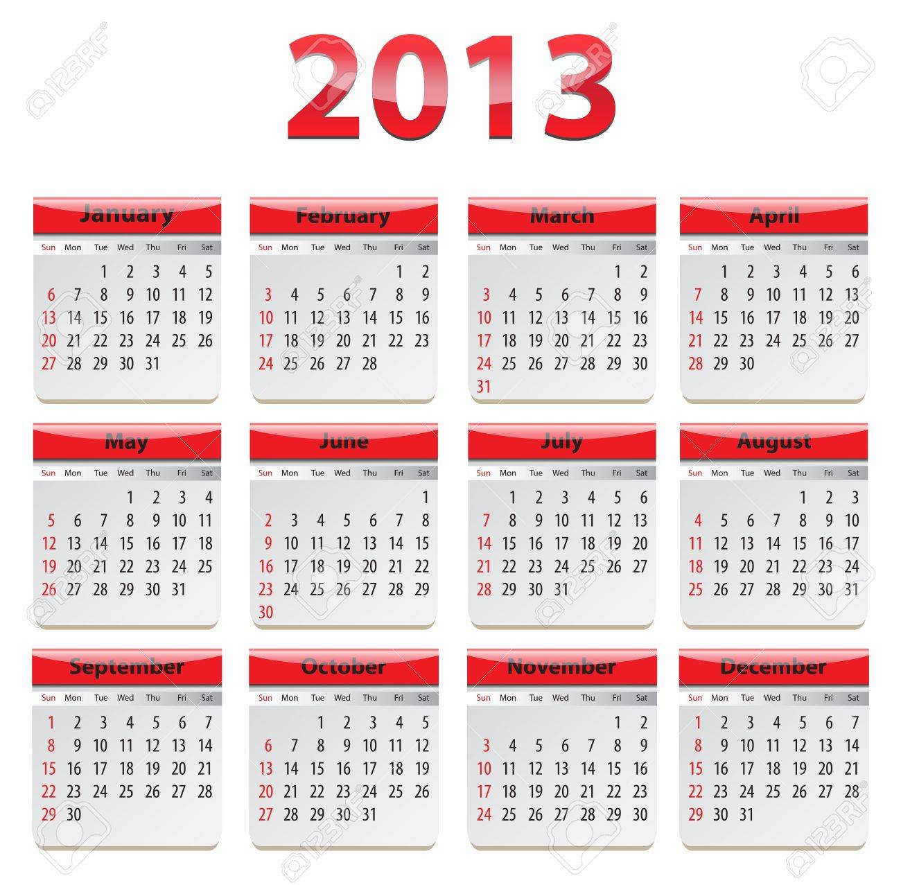 Red glossy calendar for 2013. Stock Vector - 14752863