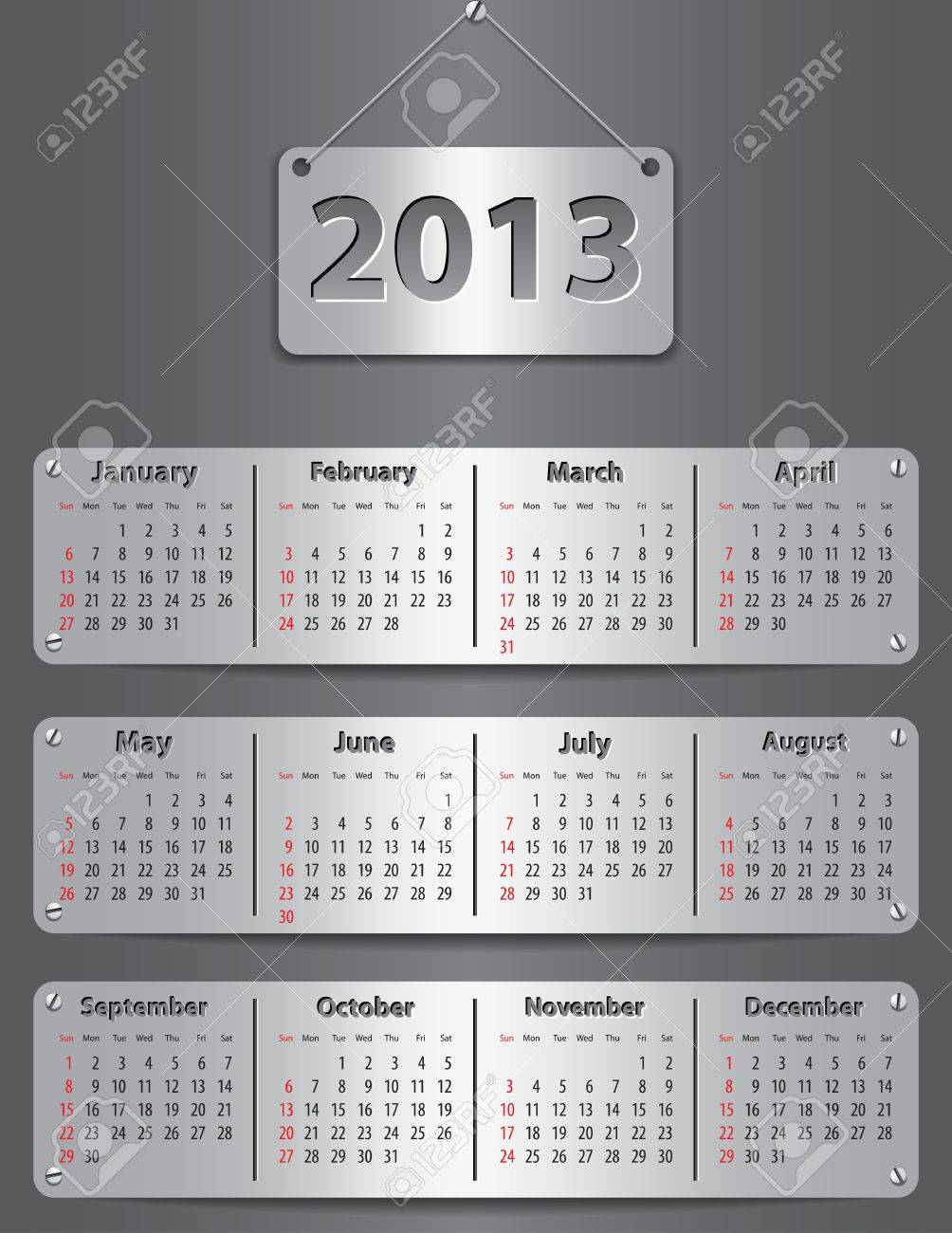 Calendar for 2013 year with attached metallic tablets. Vector illustration Stock Vector - 15010886