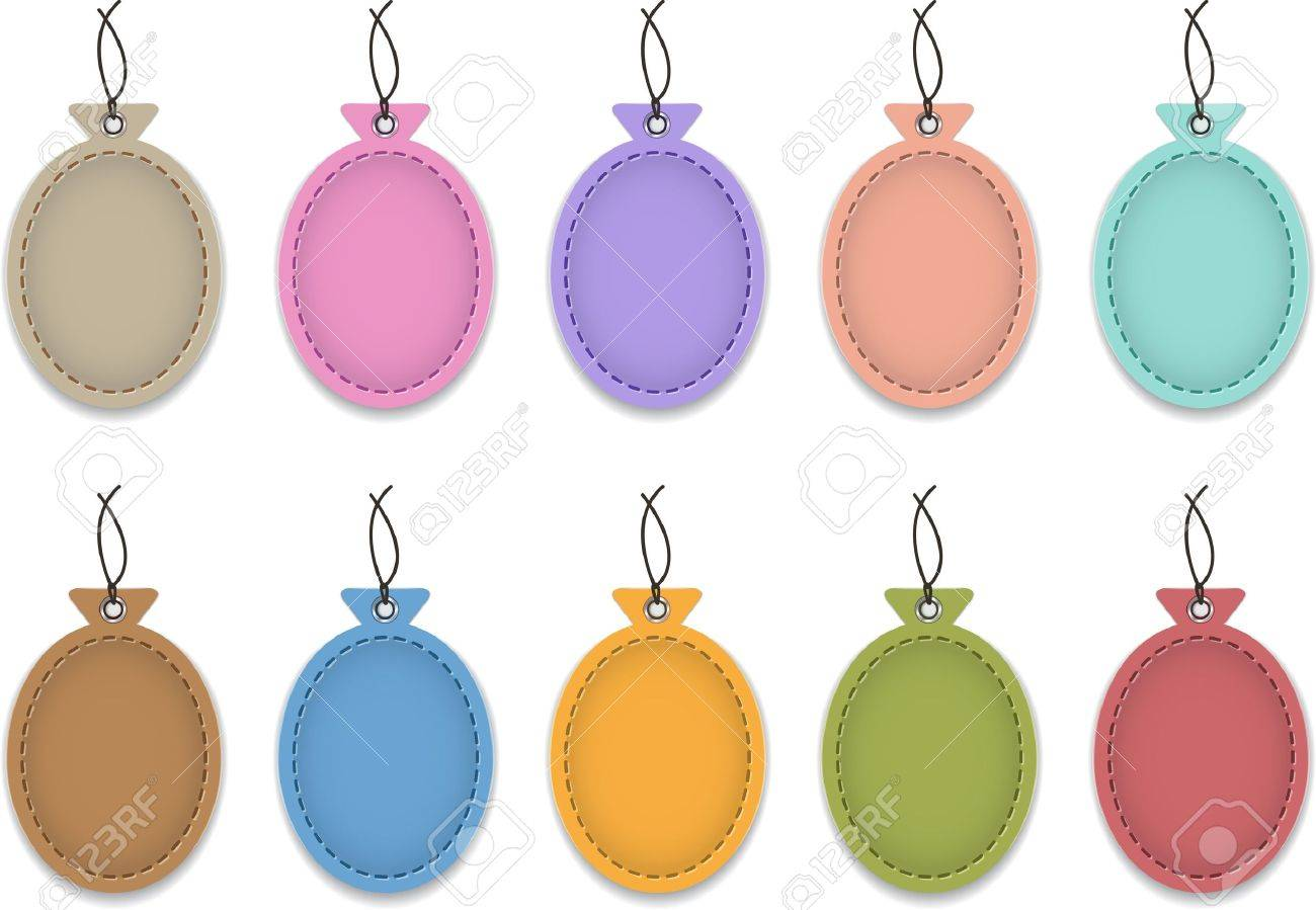 Colorful blank leather labels in the shape of balloons  Price