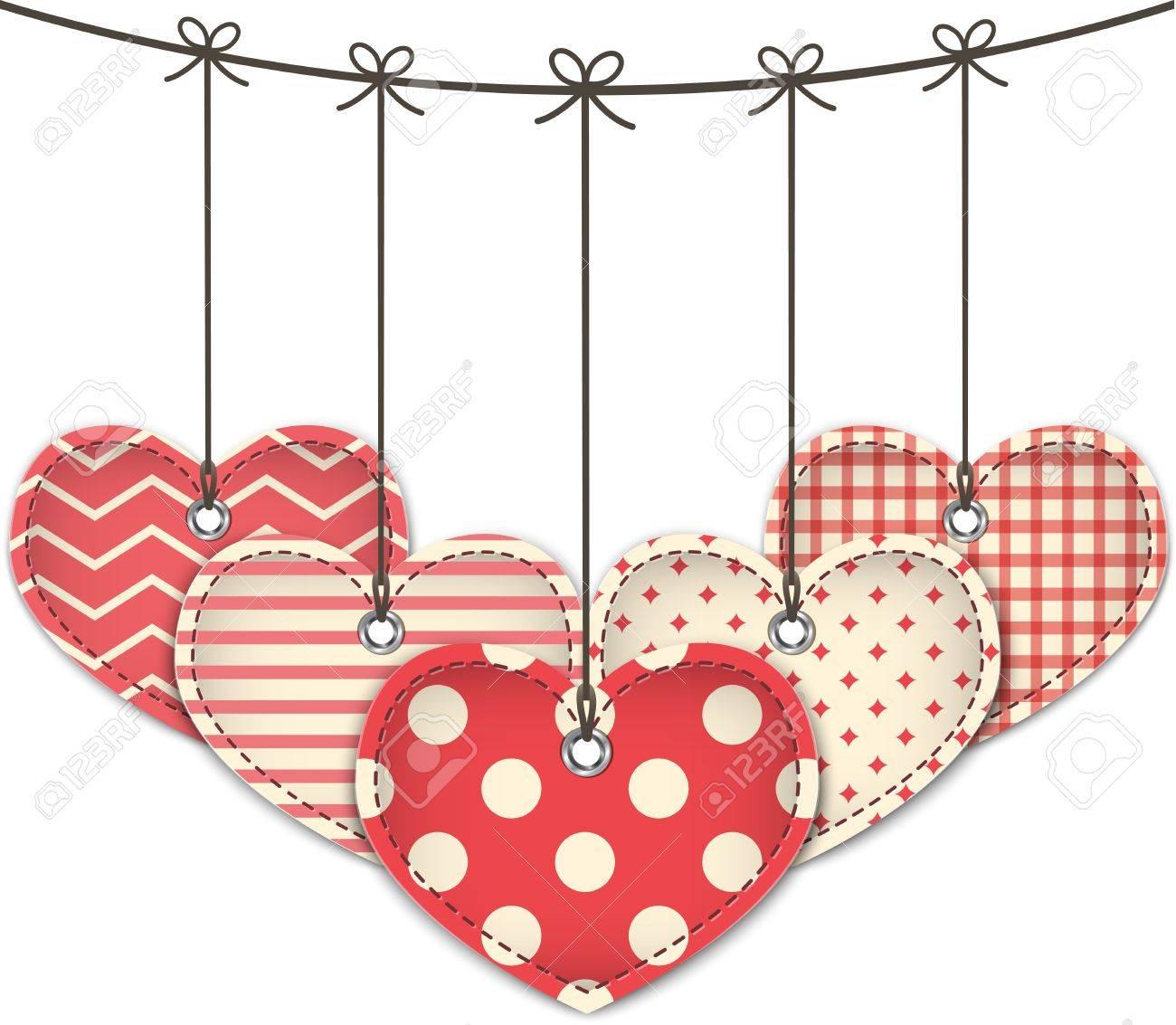 Valentine textured hearts. Vector illustration Stock Vector - 17350228