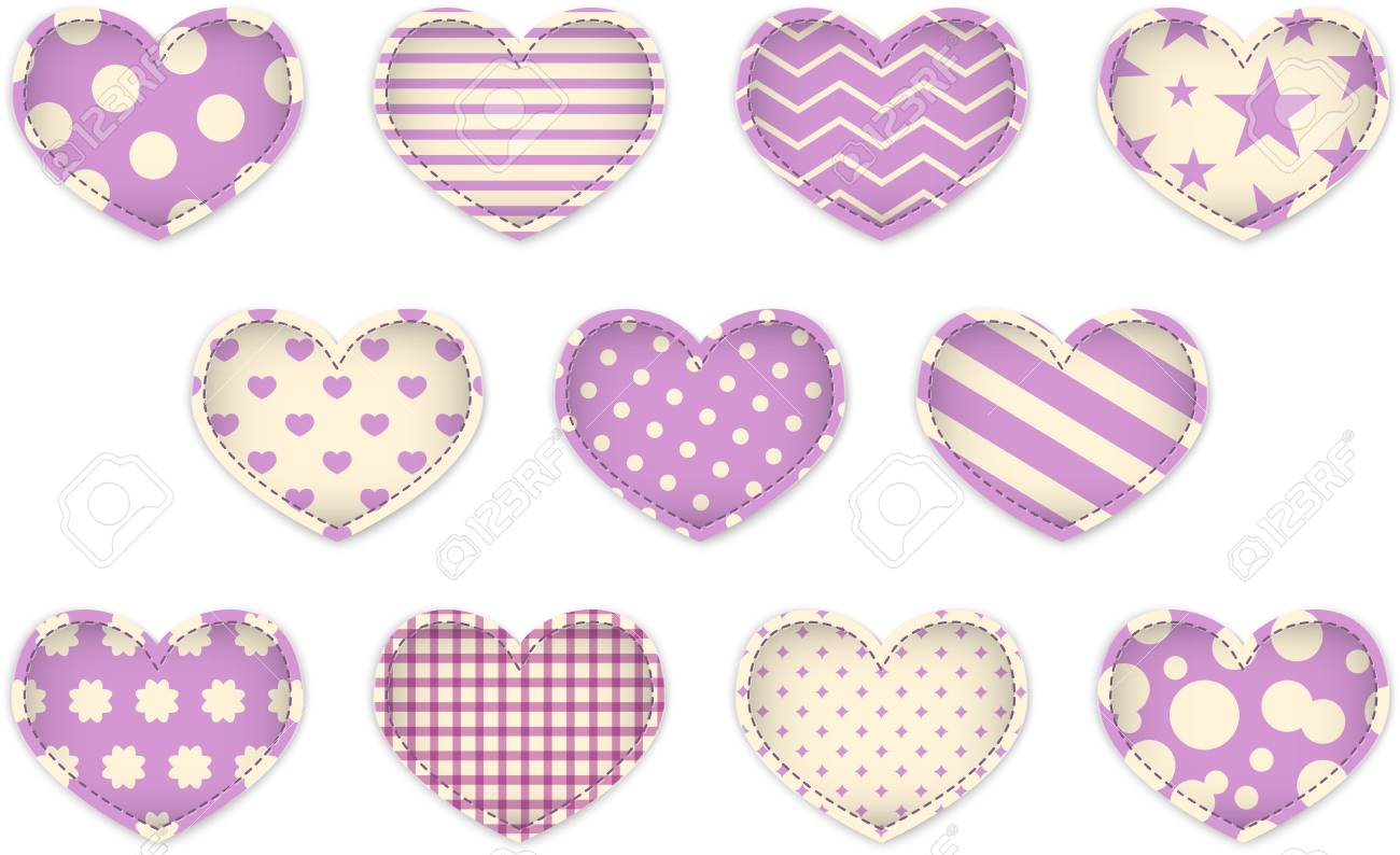 Valentine's Day pink textured hearts. Vector illustration Stock Vector - 17350227