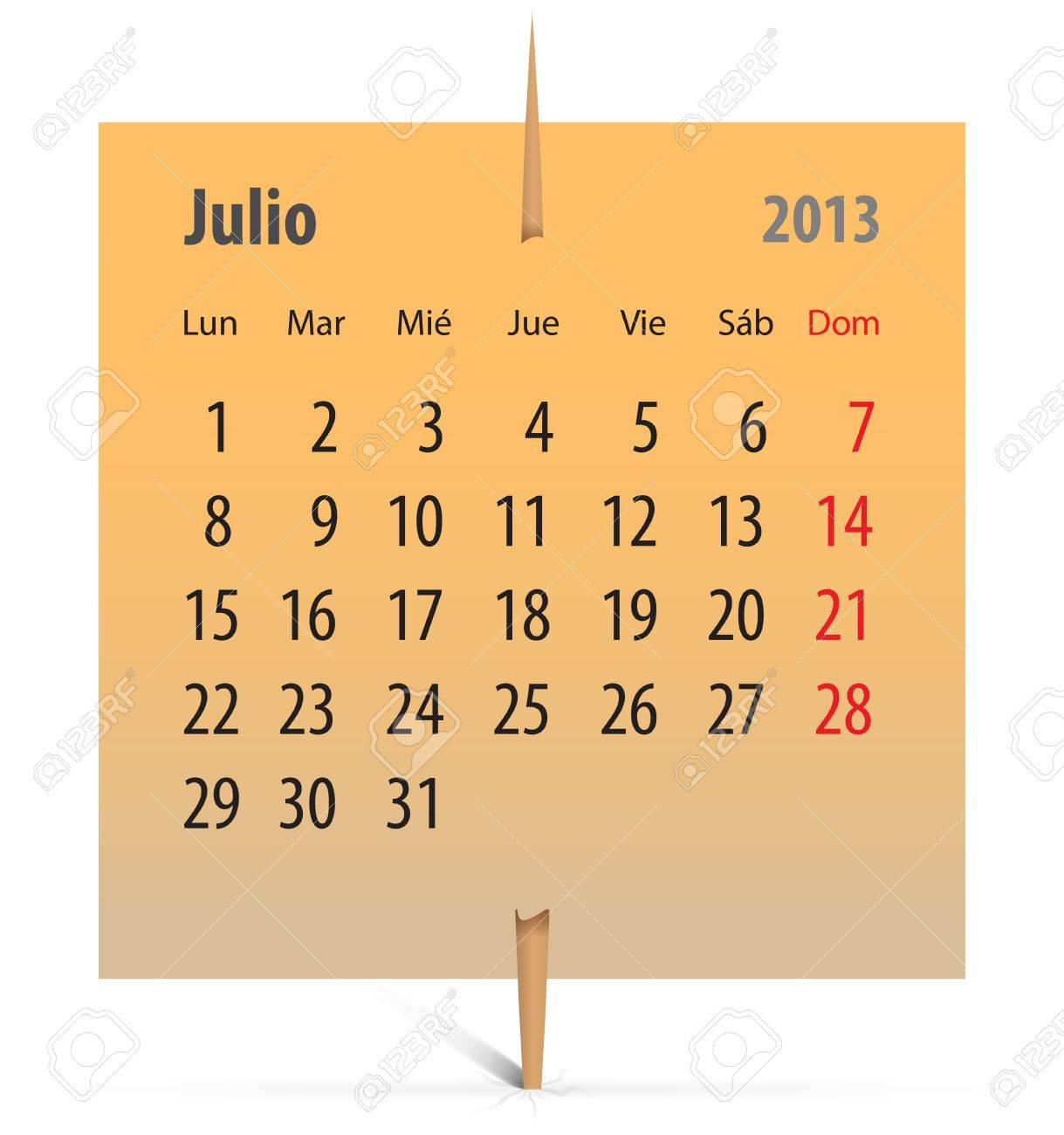 Spanish calendar for July 2013 on an orange sticker attached with toothpick. Vector illustration Stock Vector - 17370081