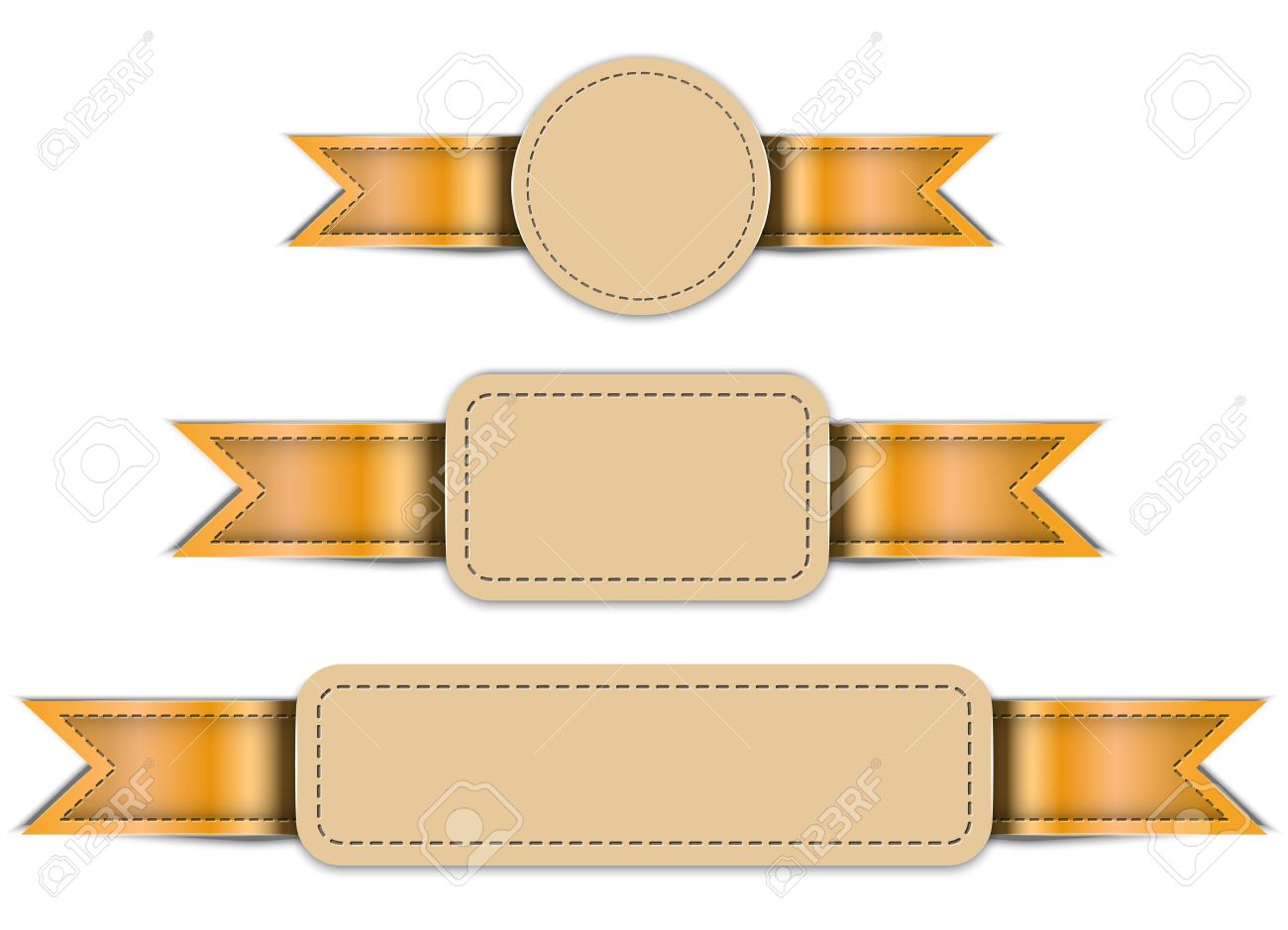 革製のバナー タグのラベル デザイン テンプレート ベクトル イラスト