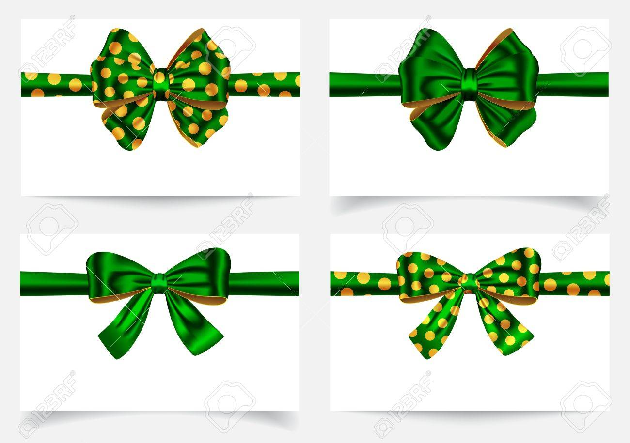 Green ribbon and bows. Gift card. Vector illustration Stock Vector - 18702104
