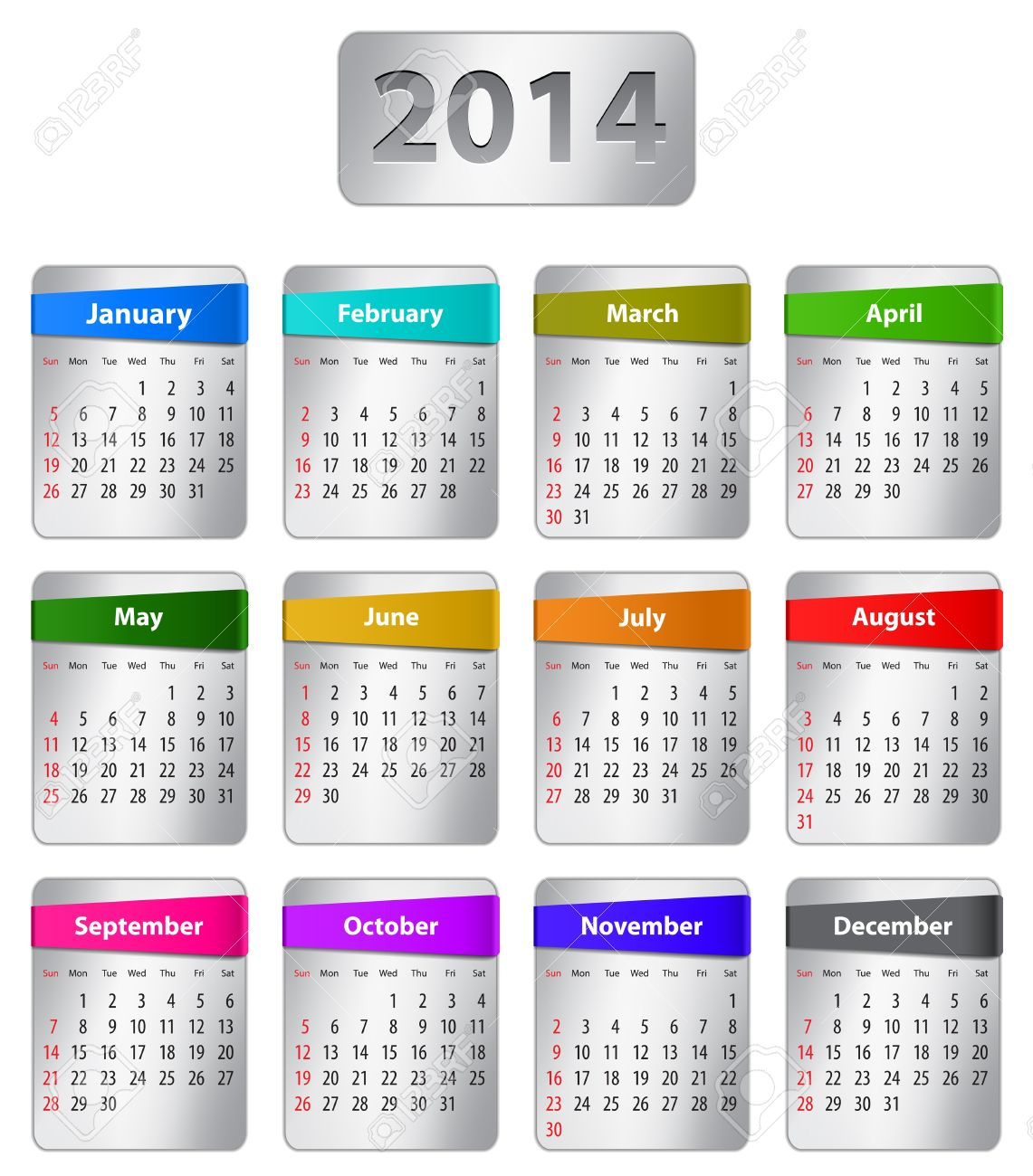 Calendar for 2014 year in English with colorful stickers. Vector illustration Stock Vector - 20724794
