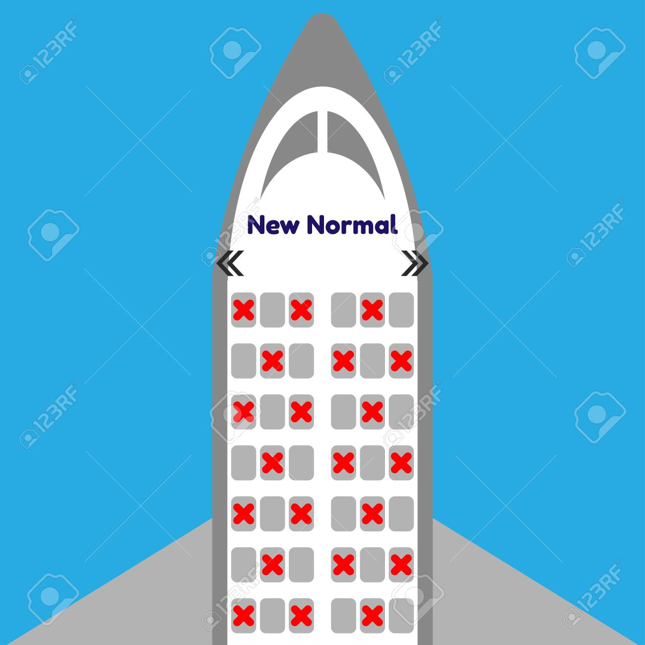 Airplane seat after Covid-19 ,New normal ,seats in cabin of airplane and some seats have a red cross ,vector ,illustrator. - 148879093