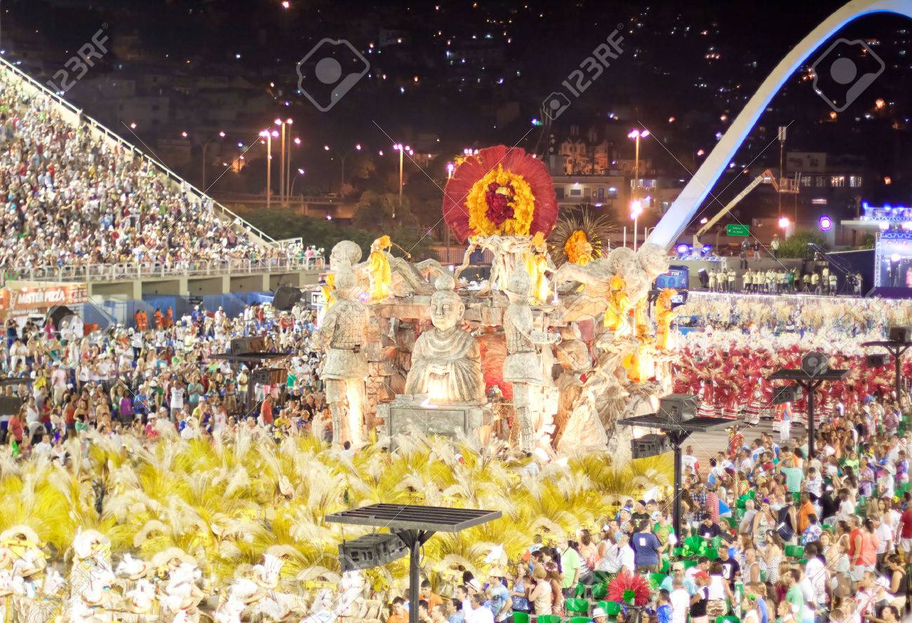 RIO DE JANEIRO - FEBRUARY 11: Show with decorations on carnival Sambodromo in Rio de Janeiro February 11, 2013, Brazil. The Rio Carnival is biggest carnival in world. - 23383752