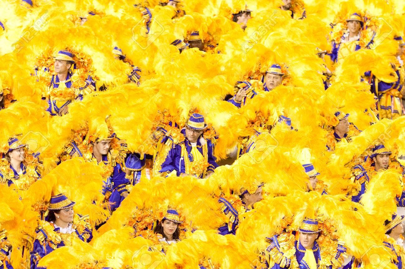 RIO DE JANEIRO - FEBRUARY 11: Dancers in costume at carnival at Sambodromo in Rio de Janeiro February 11, 2013, Brazil. The Rio Carnival is biggest carnival in world. - 23383710