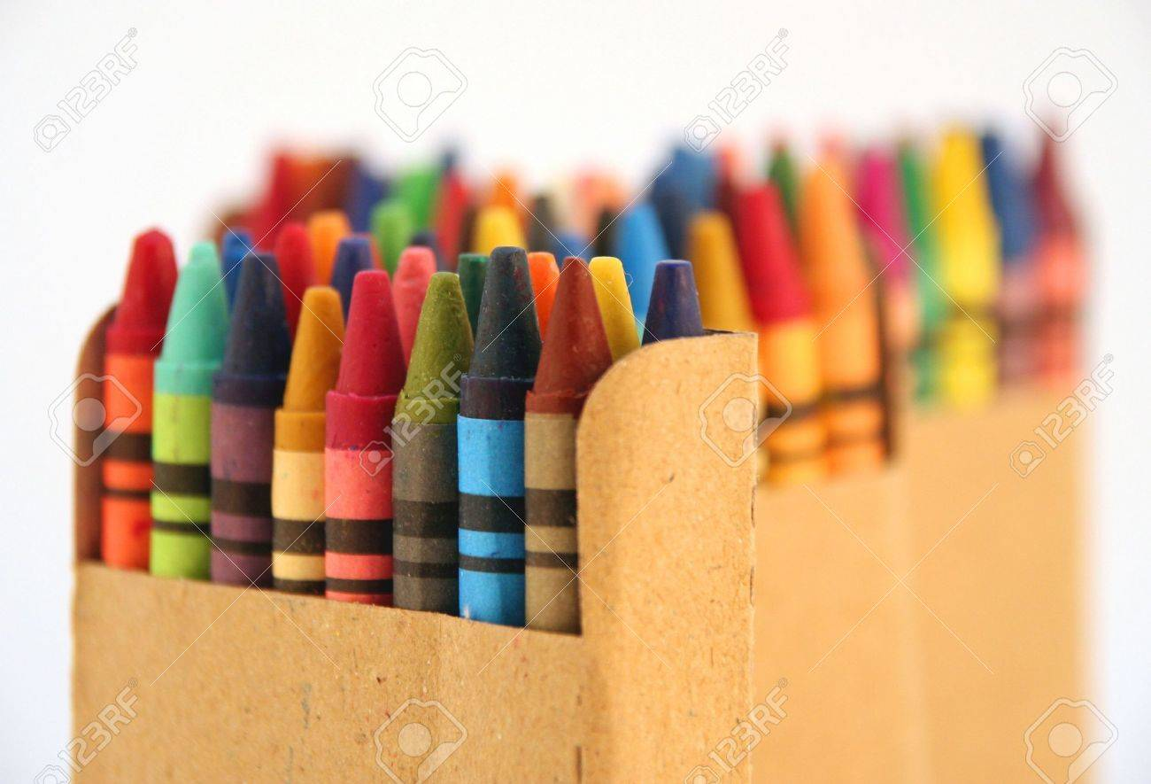 Children Coloring Set Of Crayons Stock Photo