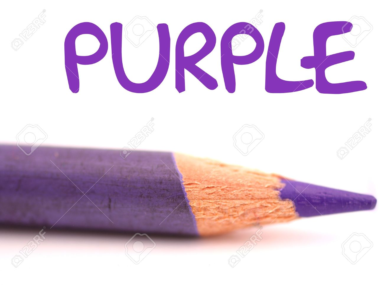 closeup of purple pencil crayon with the word purple above it