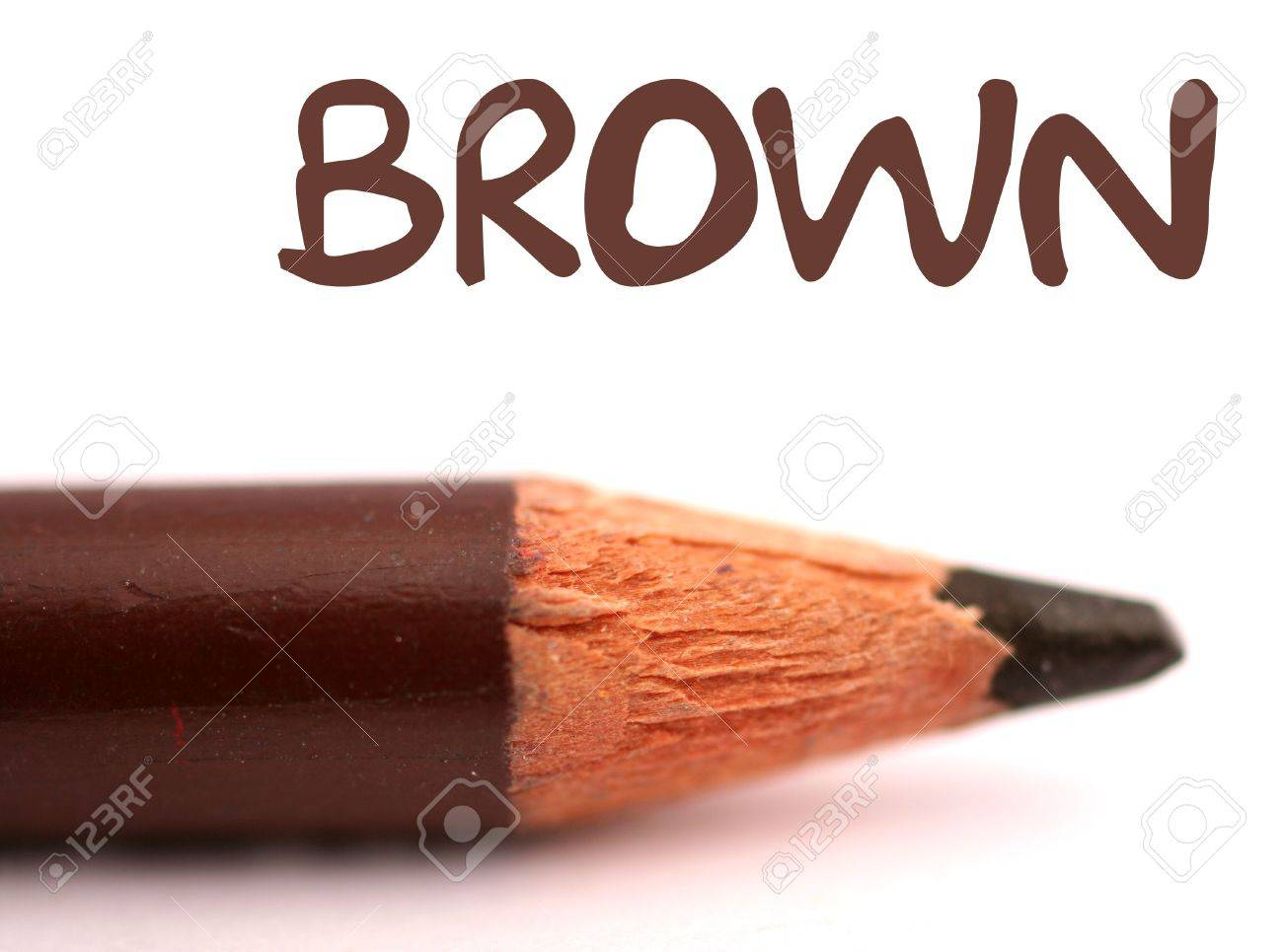 closeup of brown pencil crayon with the word brown above it on white background Stock Photo - 815003