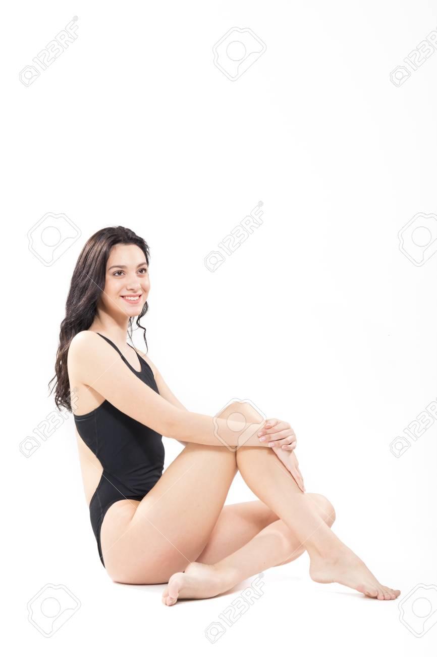 Blanco De BañoMirando Una Cuerpo JovenTiro Mujer CompletoTraje ArribaFondo Adulta Del vIbf6gmY7y