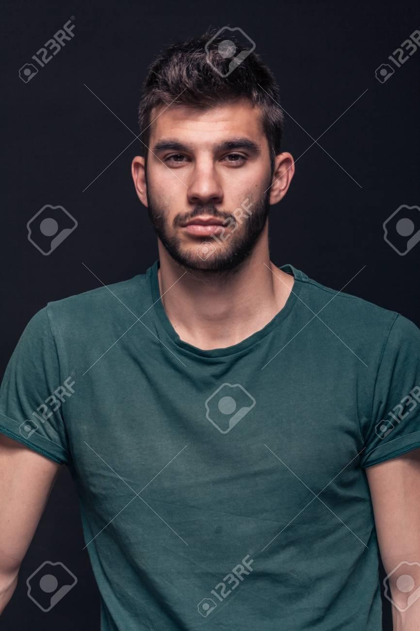 2cd26c12388b1 Handsome Man Portrait, Front View, Upper Body Shot, Green T-shirt ...