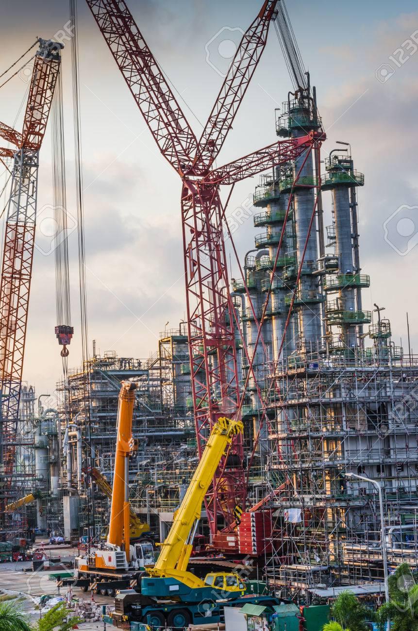 petrochemical plant under construction,crane working