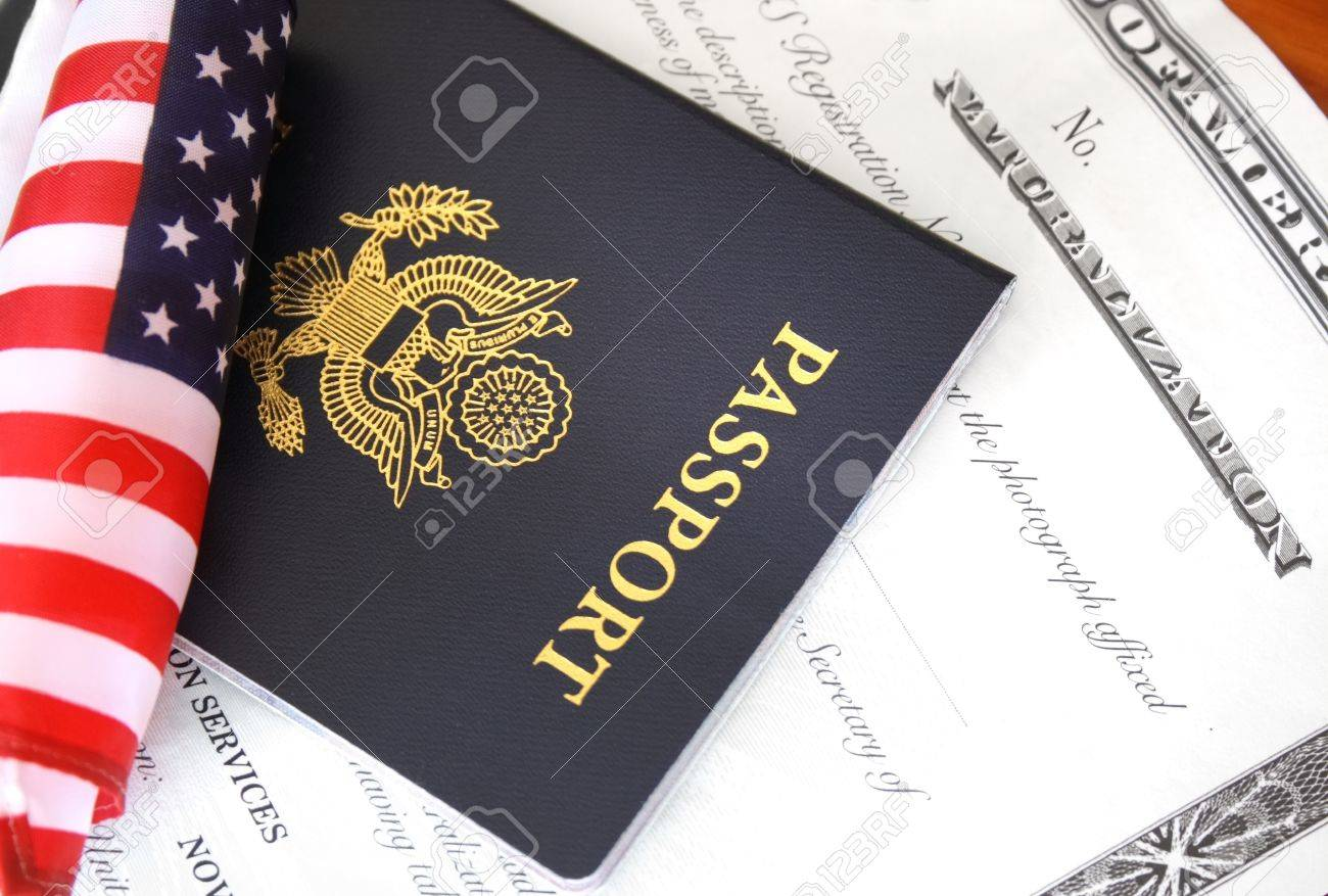immigration concept us passport and flag over a citizenship