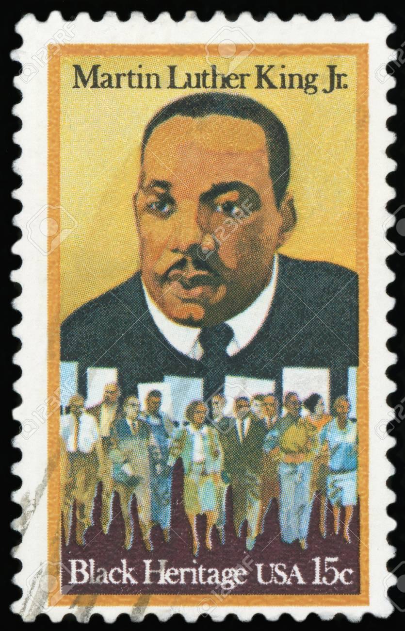 Briefmarke Porträt Von Martin Luther King Jr Lizenzfreie Fotos